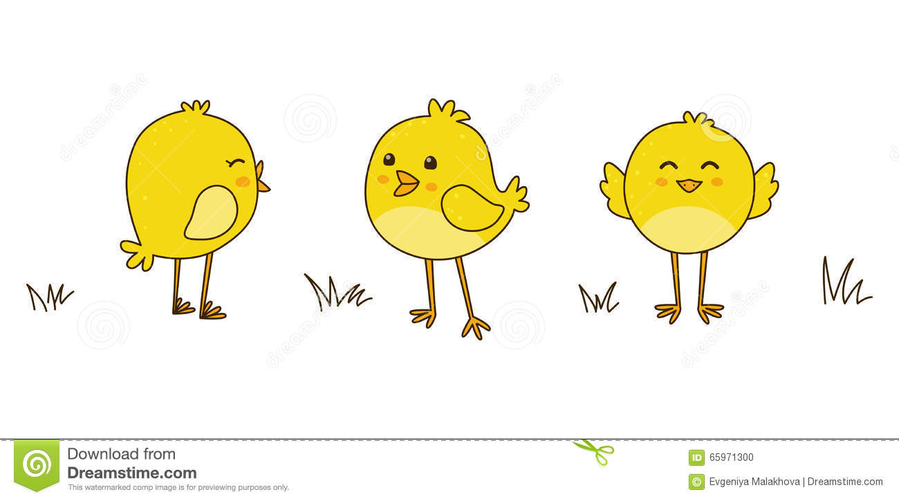 Cute Cartoon Chickens Isolated On White Stock Vector - Image: 65971300