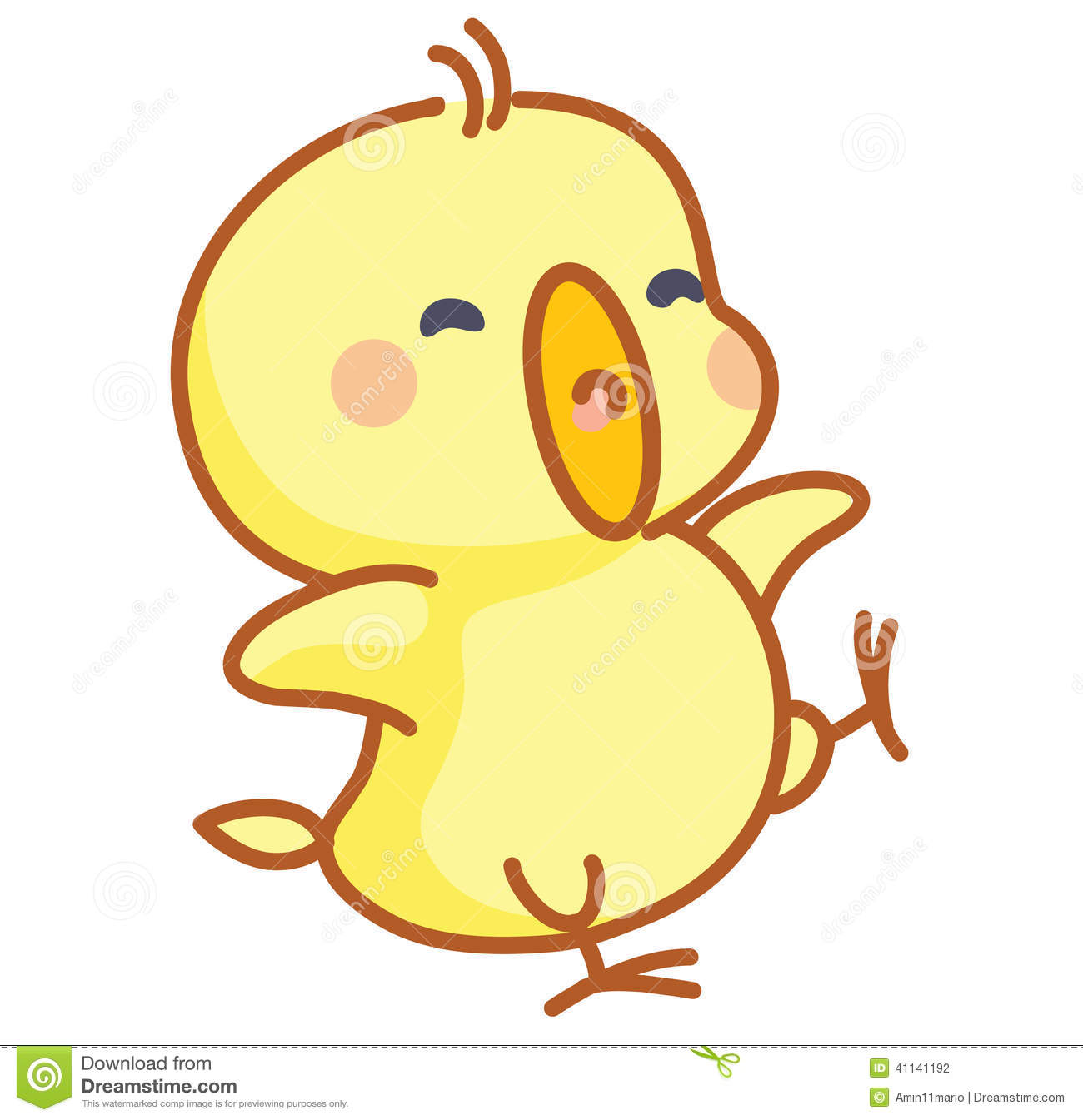 Cute Cartoon Chicks Posing Stock Illustration - Image: 41141192