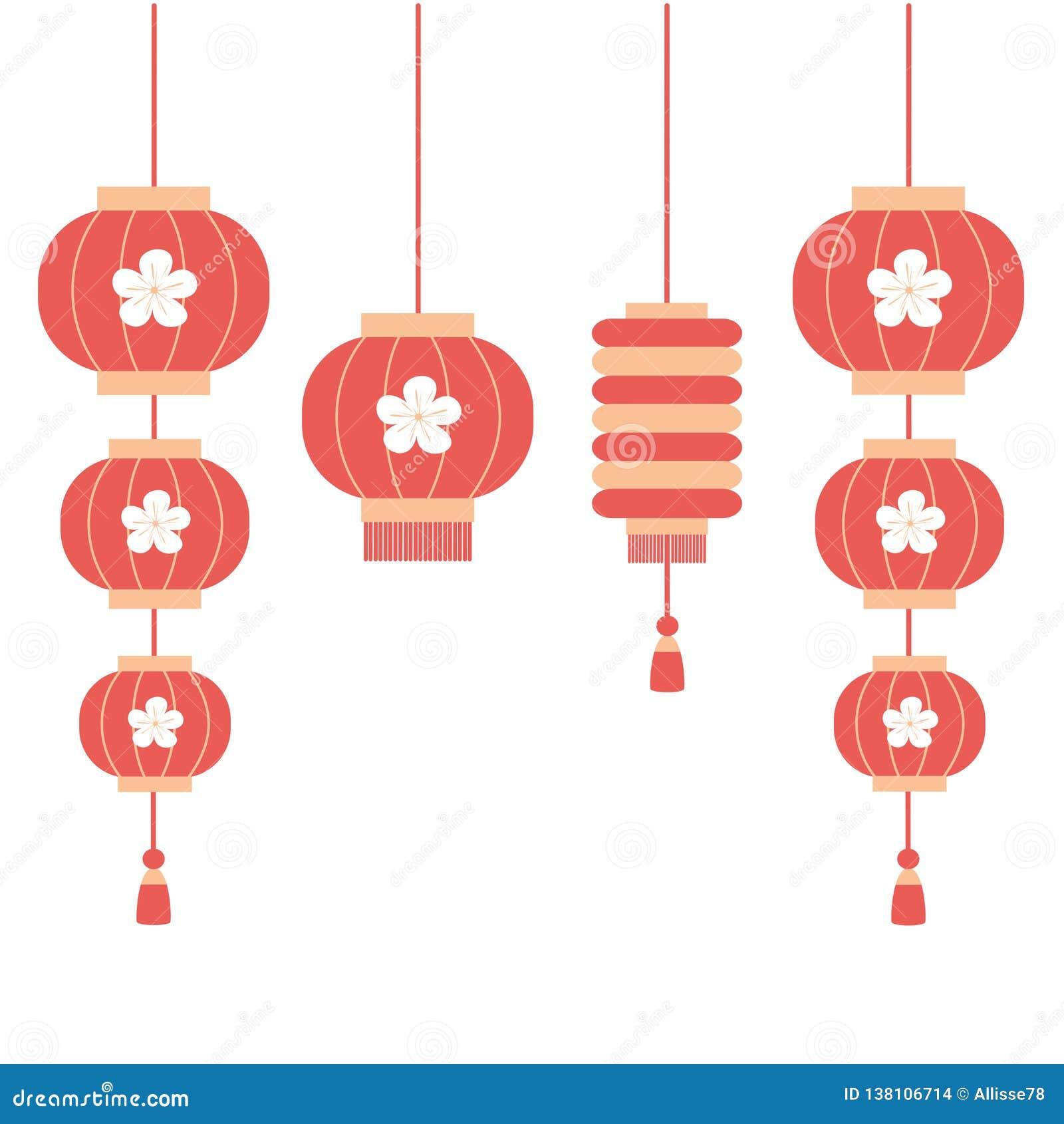 Cute Cartoon Chinese Lantern Set Vector Flat Illustration ...