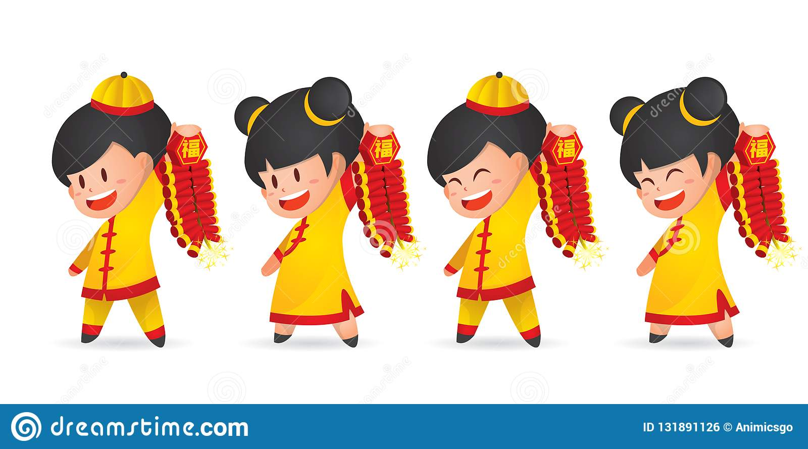 Cute cartoon Chinese New Year boy and girl having fun with firecracker, isolated on white.