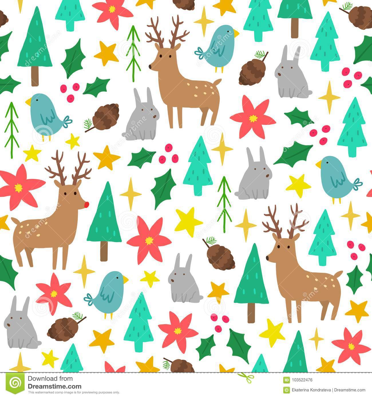 Christmas Backgrounds Cute.Cute Cartoon Christmas Background Stock Vector