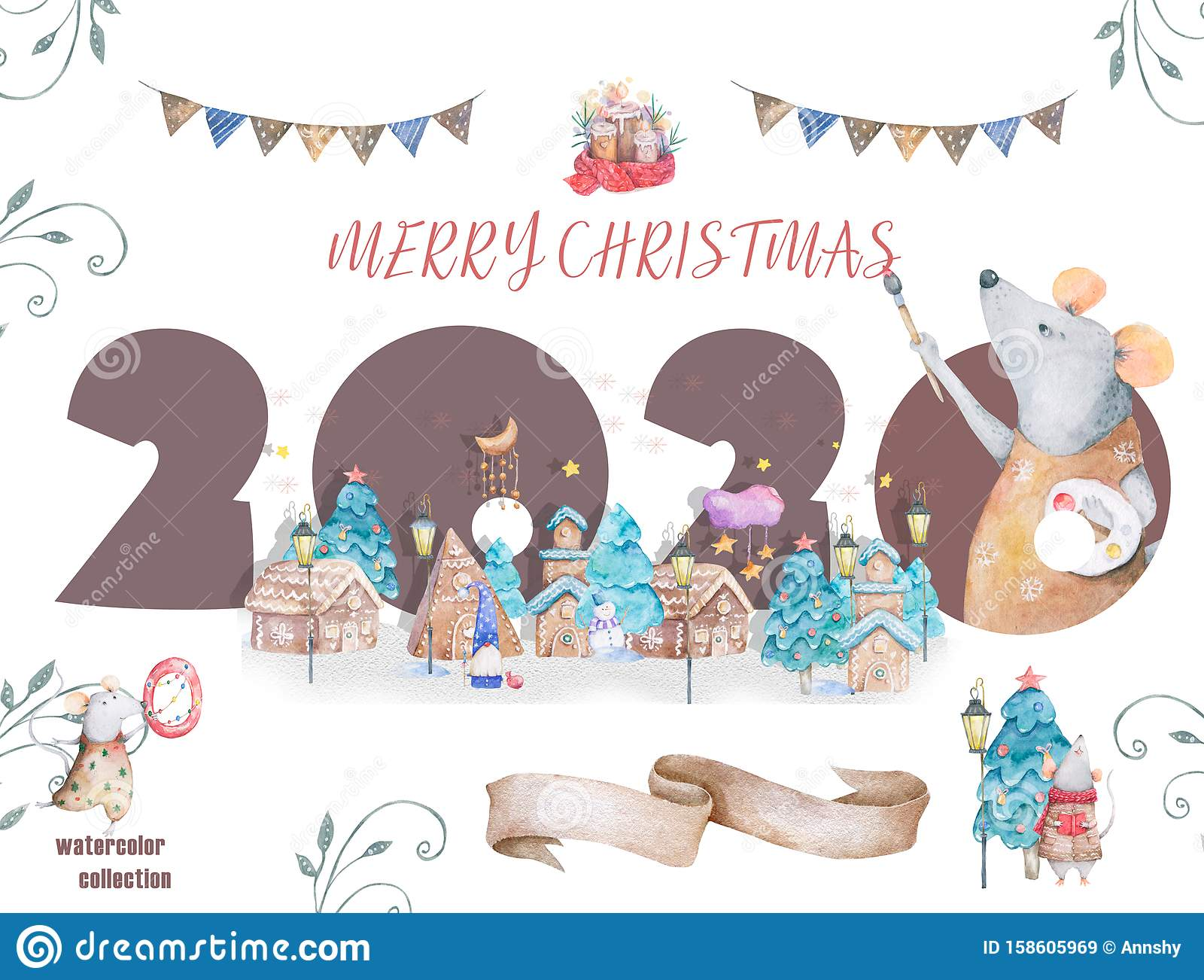 Cute cartoon christmas rat mouse christmas card. Watercolor hand drawn animal illustration. New Year 2020 holiday