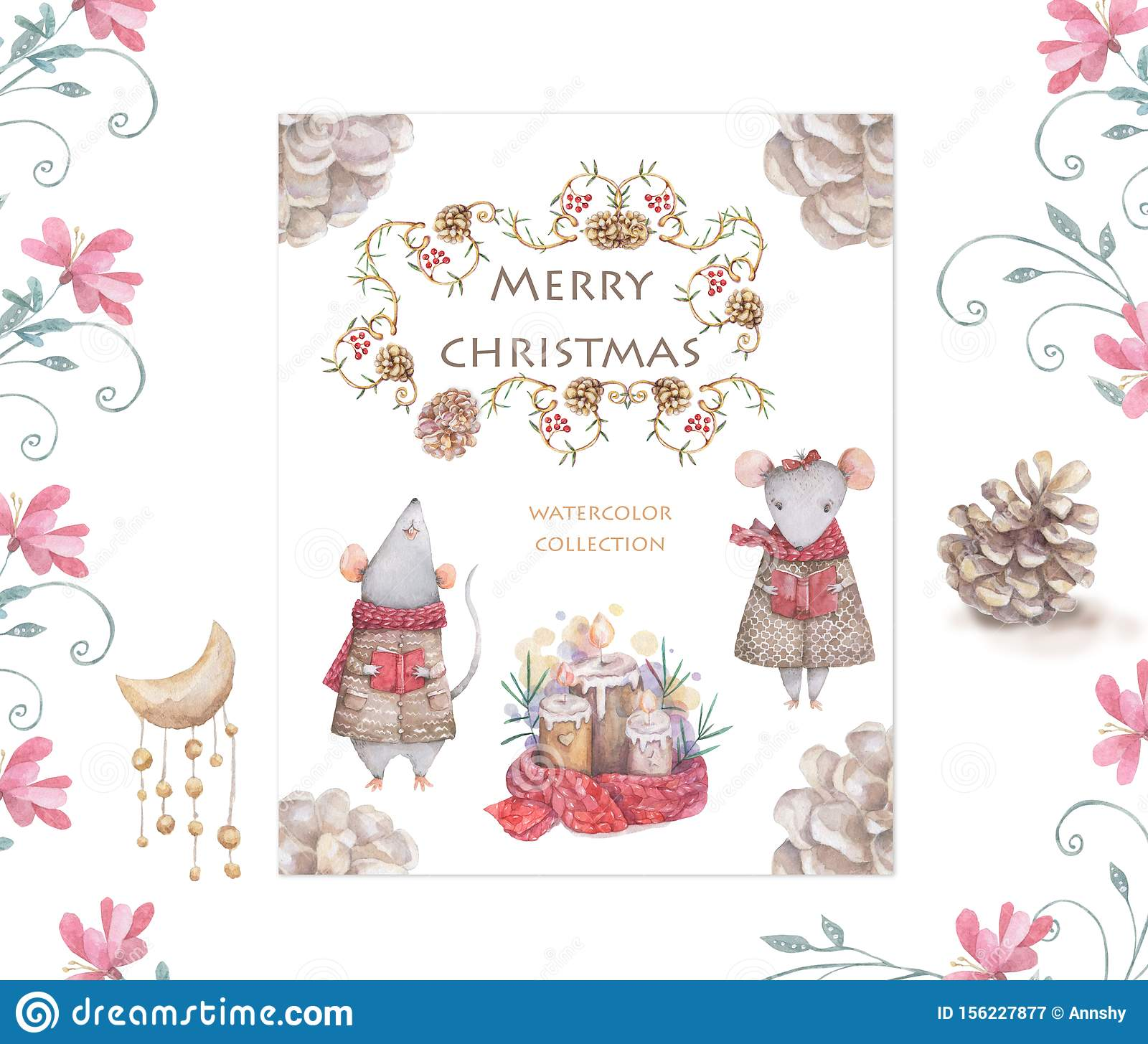 Cute cartoon christmas rat mouse christmas card. Watercolor hand drawn animal illustration. New Year 2020 holiday drawing