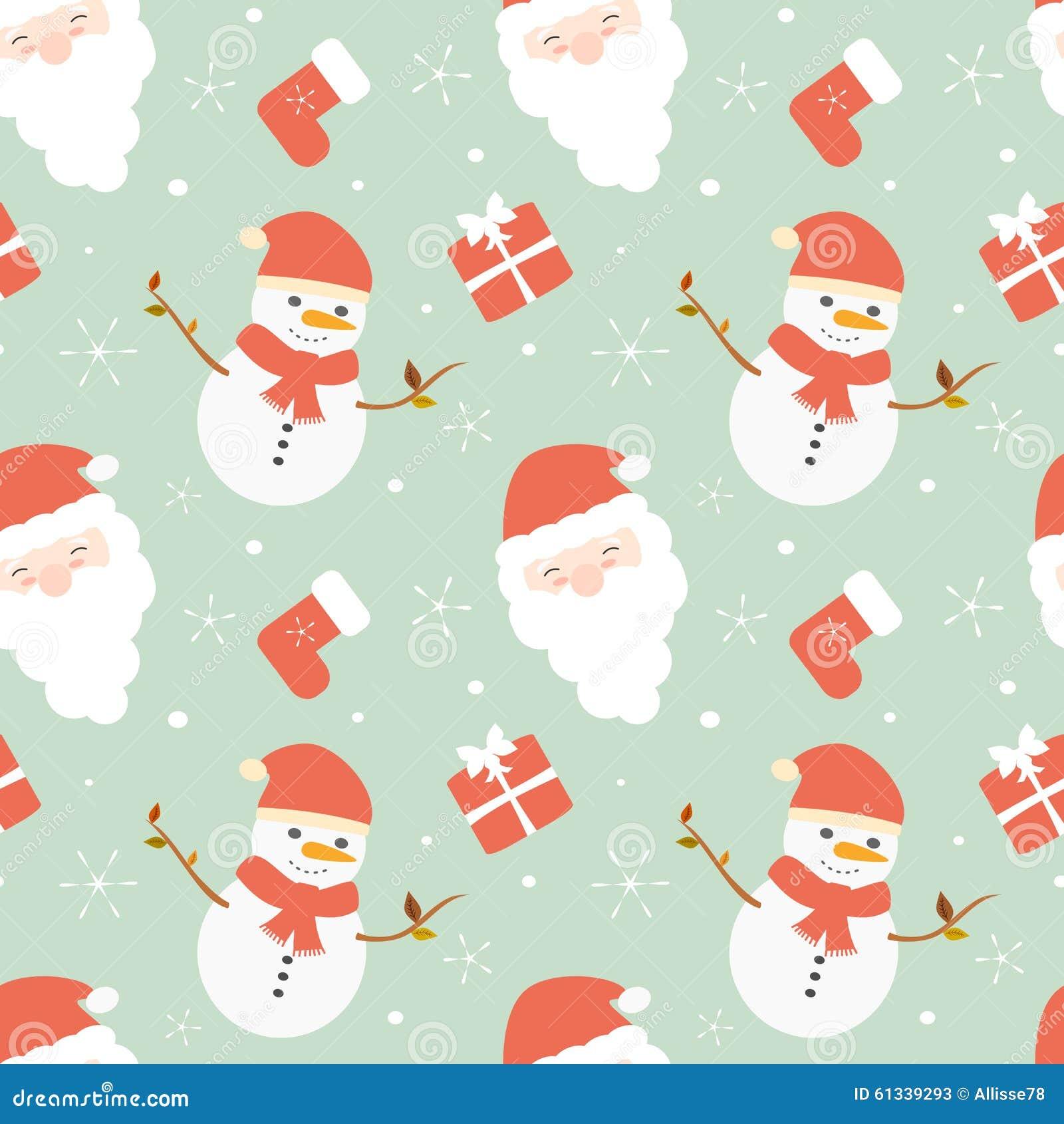 Cute Cartoon Christmas Seamless Pattern Background ...