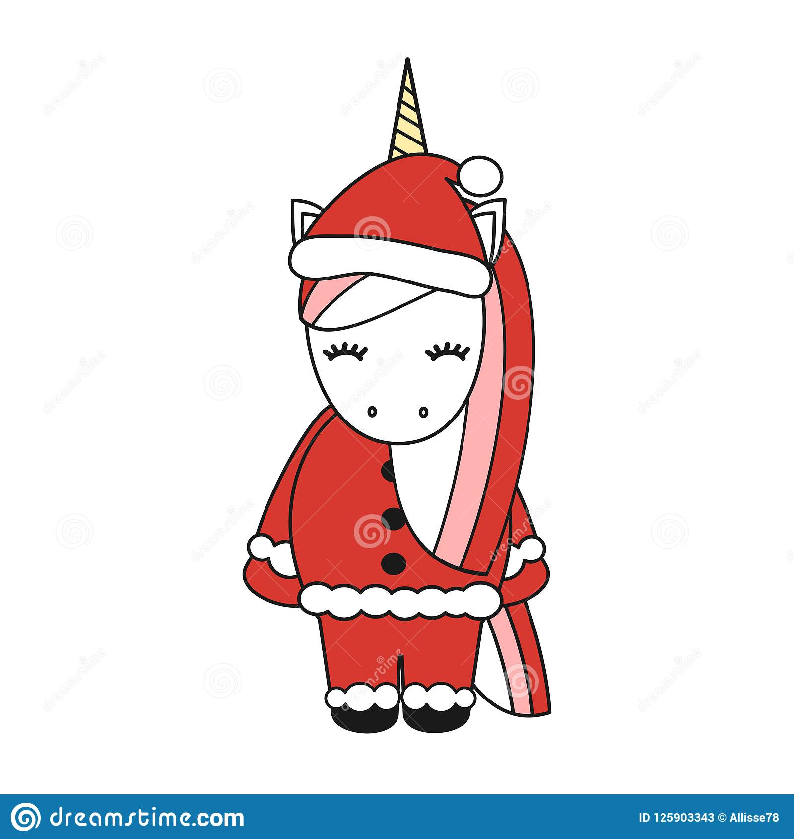 download cute cartoon vector christmas unicorn isolated on white background stock vector illustration of character - Christmas Unicorn
