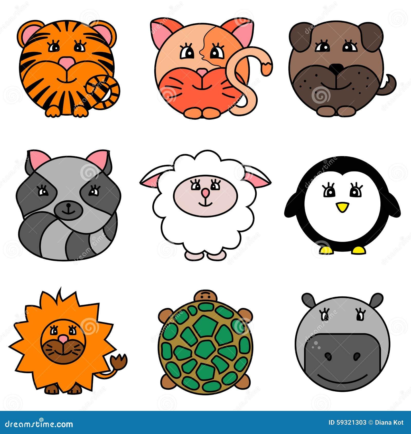 Cute Cartoon Circle Animals Collection Stock Illustration ...
