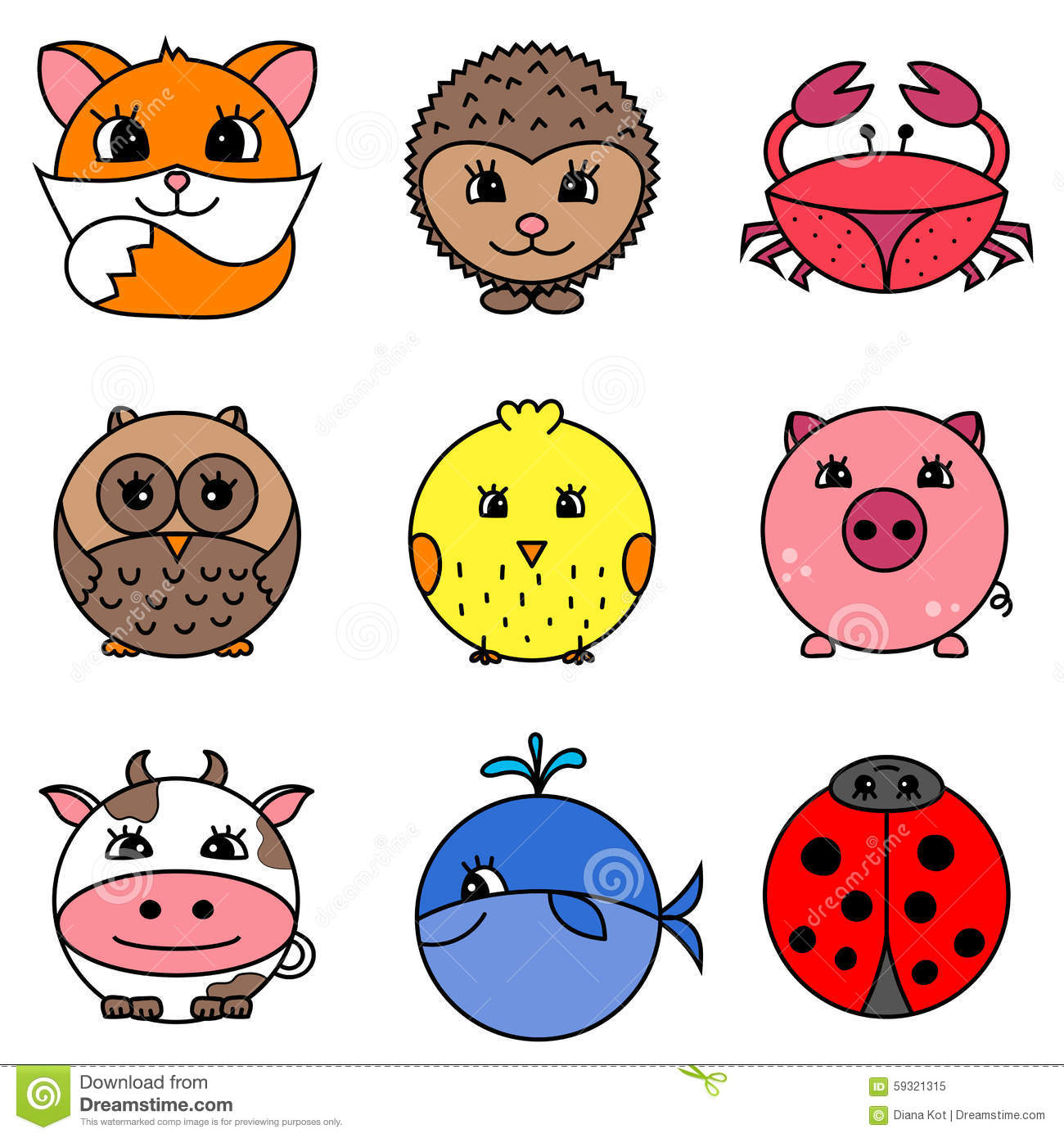 cute cartoon circle animals collection stock illustration illustration of cartoon  shape 59321315 crab vector image crab vector graphic free