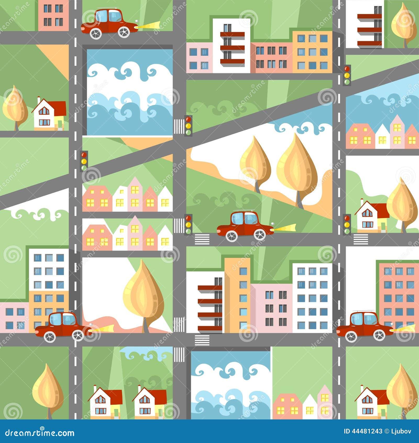 Cute cartoon city map stock vector image 44481243 - Inmobiliarias en villagarcia de arosa ...