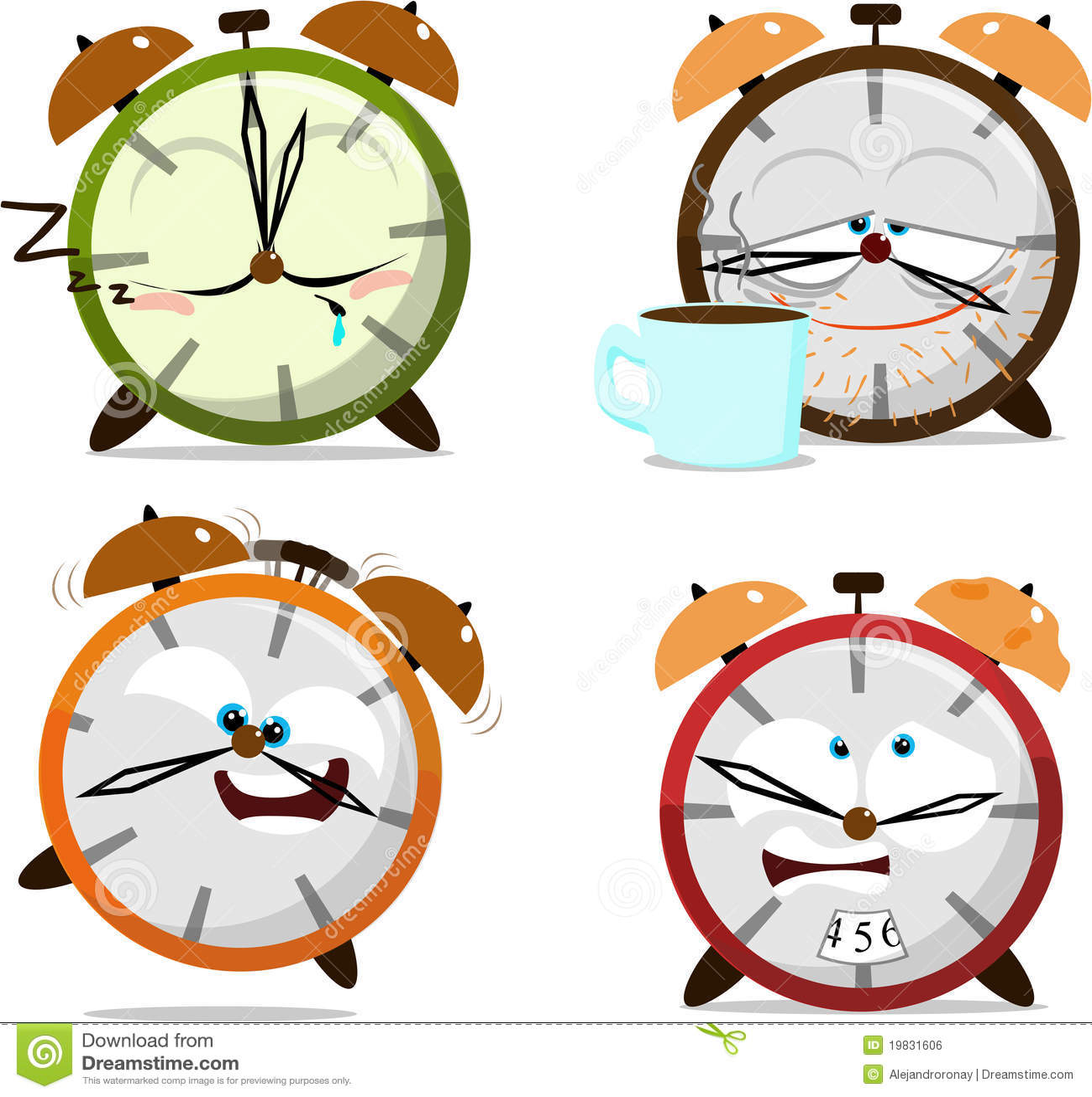 Cute Cartoon Clocks Royalty Free Stock Image Image 19831606