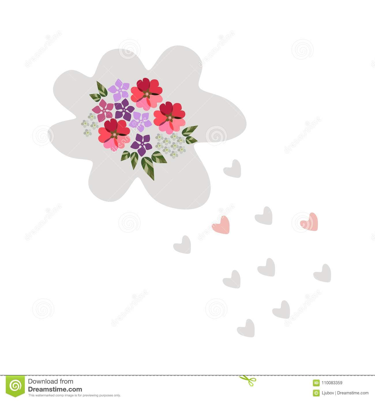 Cute cartoon cloud with flowers and drops as hearts beautiful card cute cartoon cloud with flowers and drops as hearts beautiful card izmirmasajfo