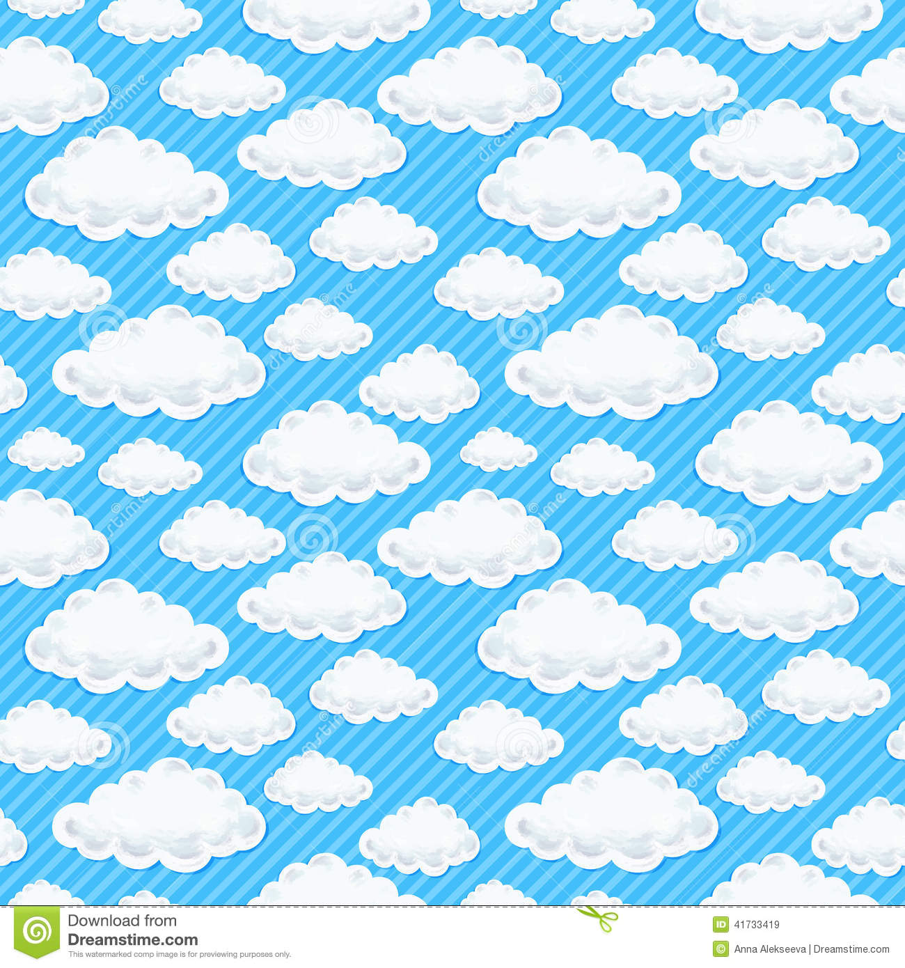 Cute Cartoon Cloud Seamless Pattern Stock Vector Illustration Of