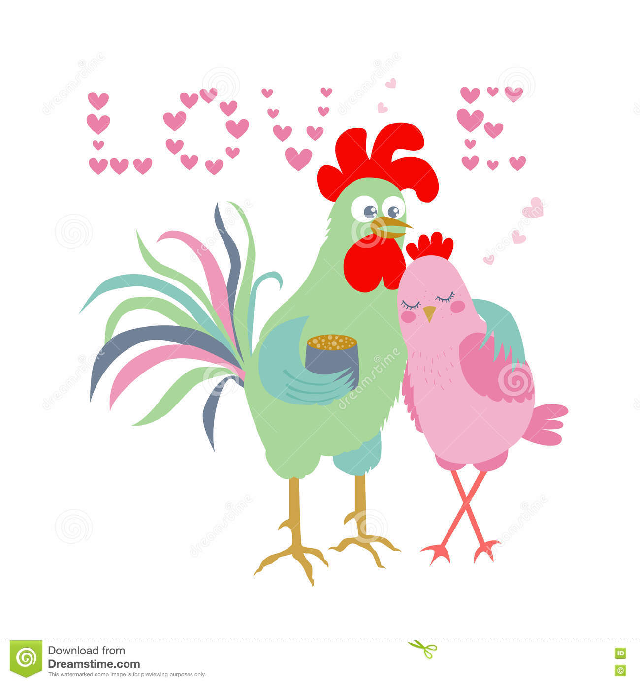 Cute Cartoon And Hen Symbol Of 2017 The Word Love Consisting Of