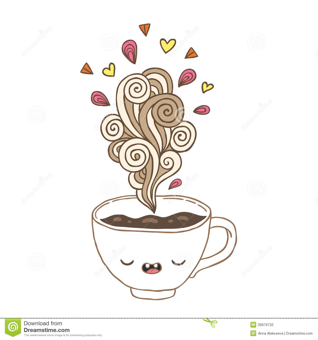 Cute Cartoon Coffee Cup With Doodle Steam Stock Vector Illustration Of Heart Chocolate 39979732