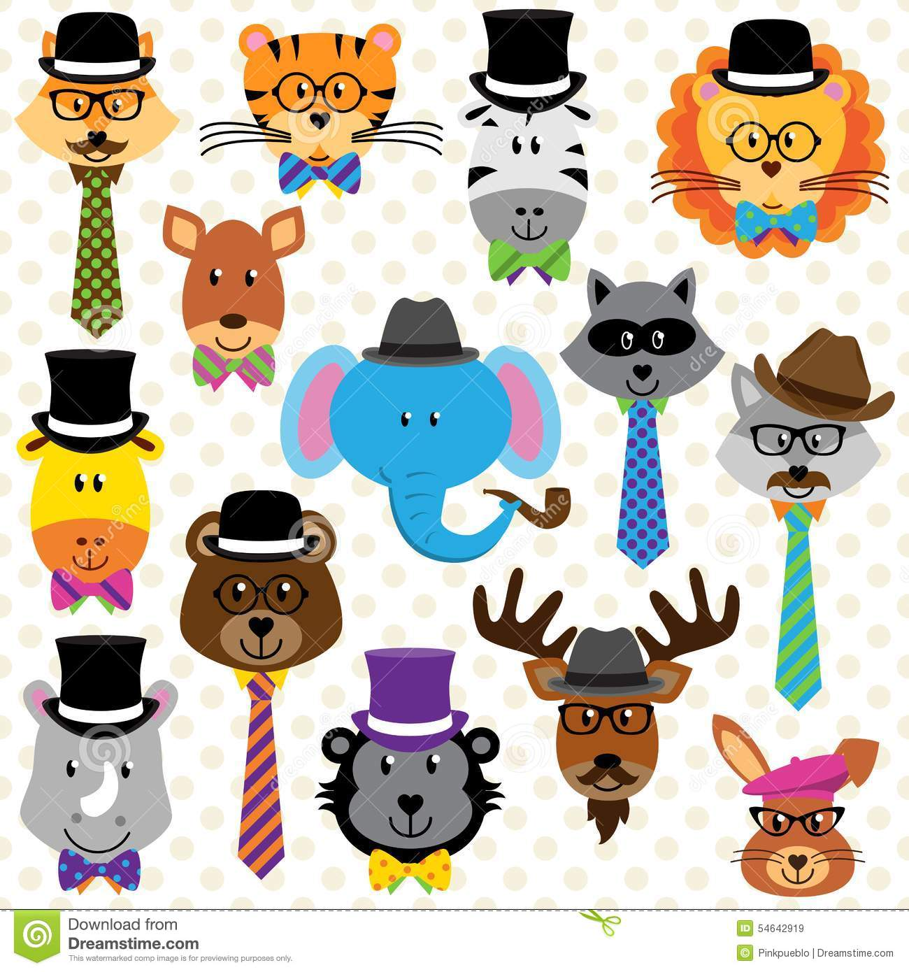 Cute Cartoon Collection Of Well Dressed Animals Stock ...
