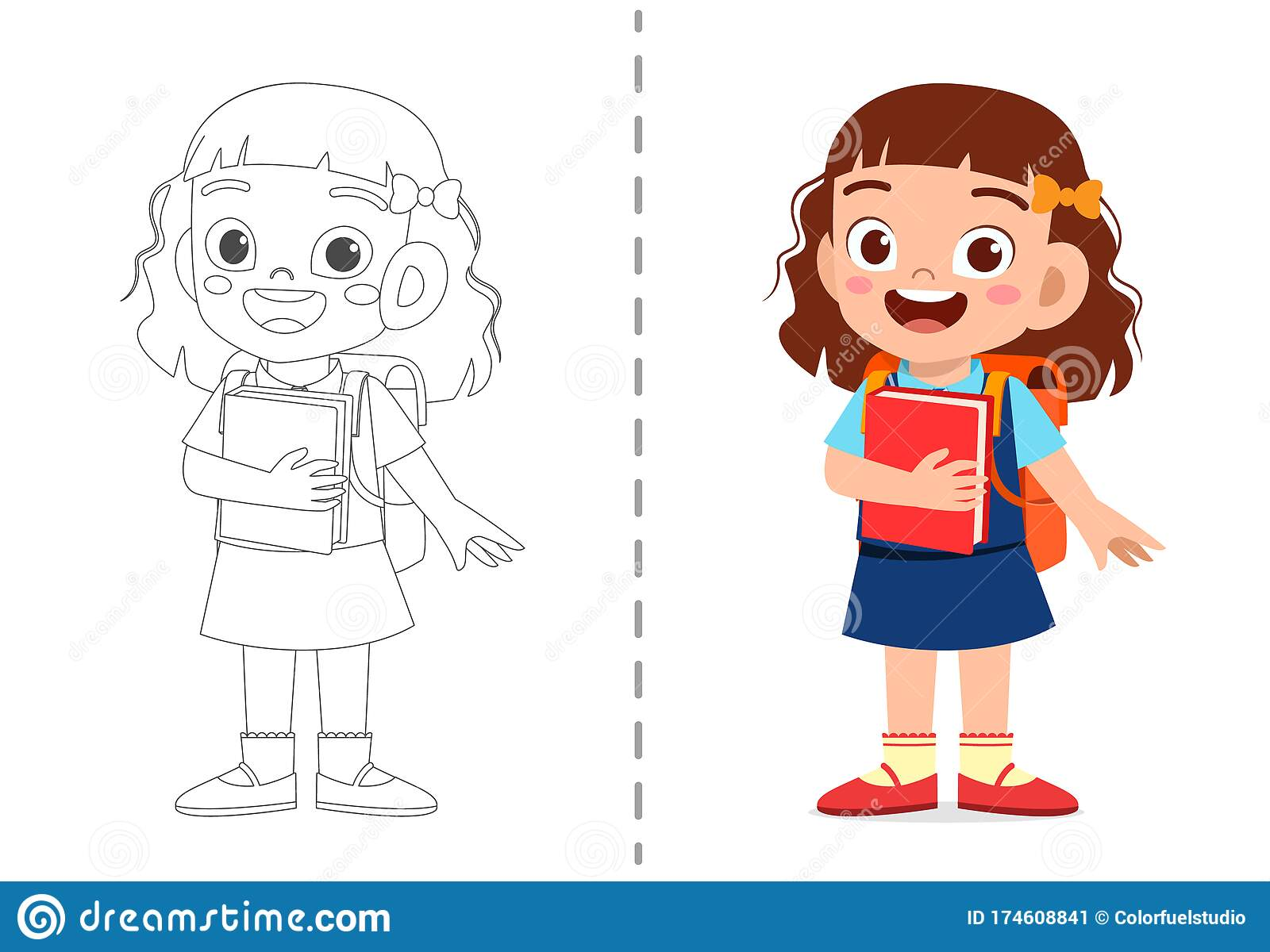 - Cute Cartoon Coloring Book Template For Kids Stock Vector