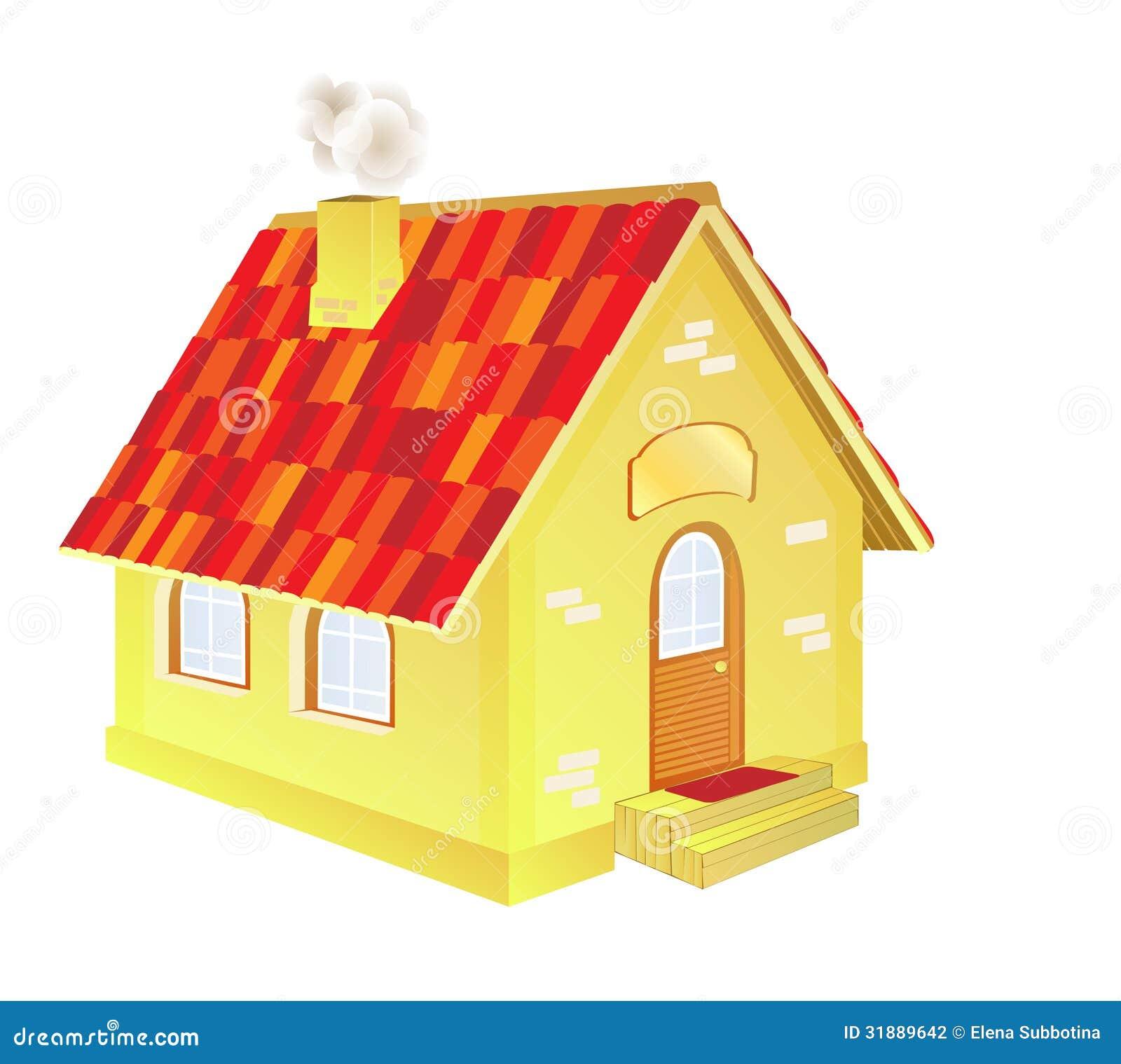 A Cute Cartoon Country House Stock Photography