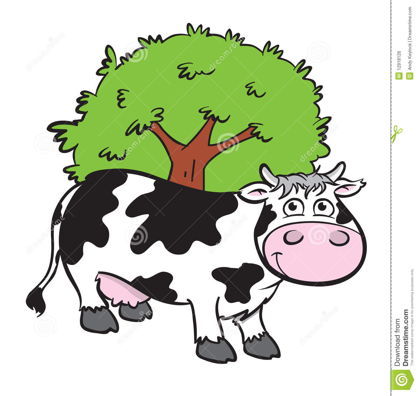 Cartoon illustration of a cute black and white cow standing in front ...