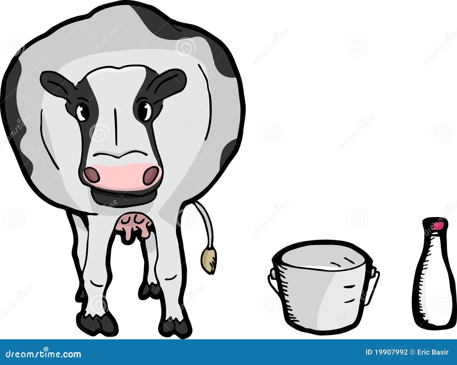Cow Milk Animation Cute Cartoon Cow Stock