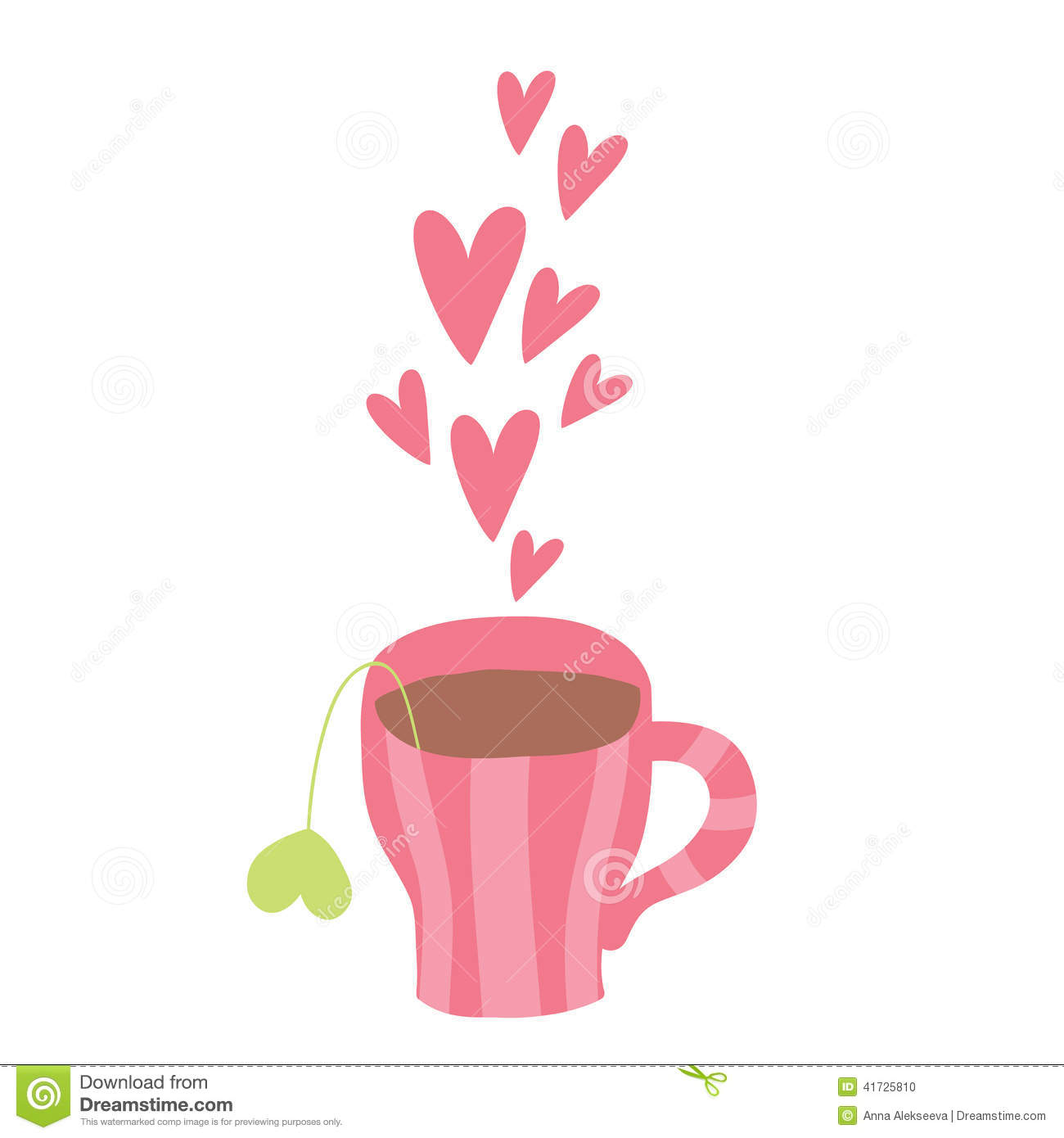 Cute Cartoon Cup Of Coffee With Hearts Stock Vector
