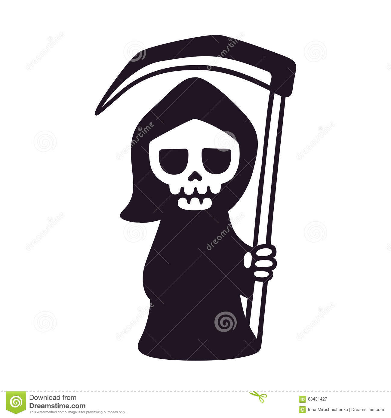 Cute death with scythe isolated black and white drawing cartoon grim reaper vector illustration