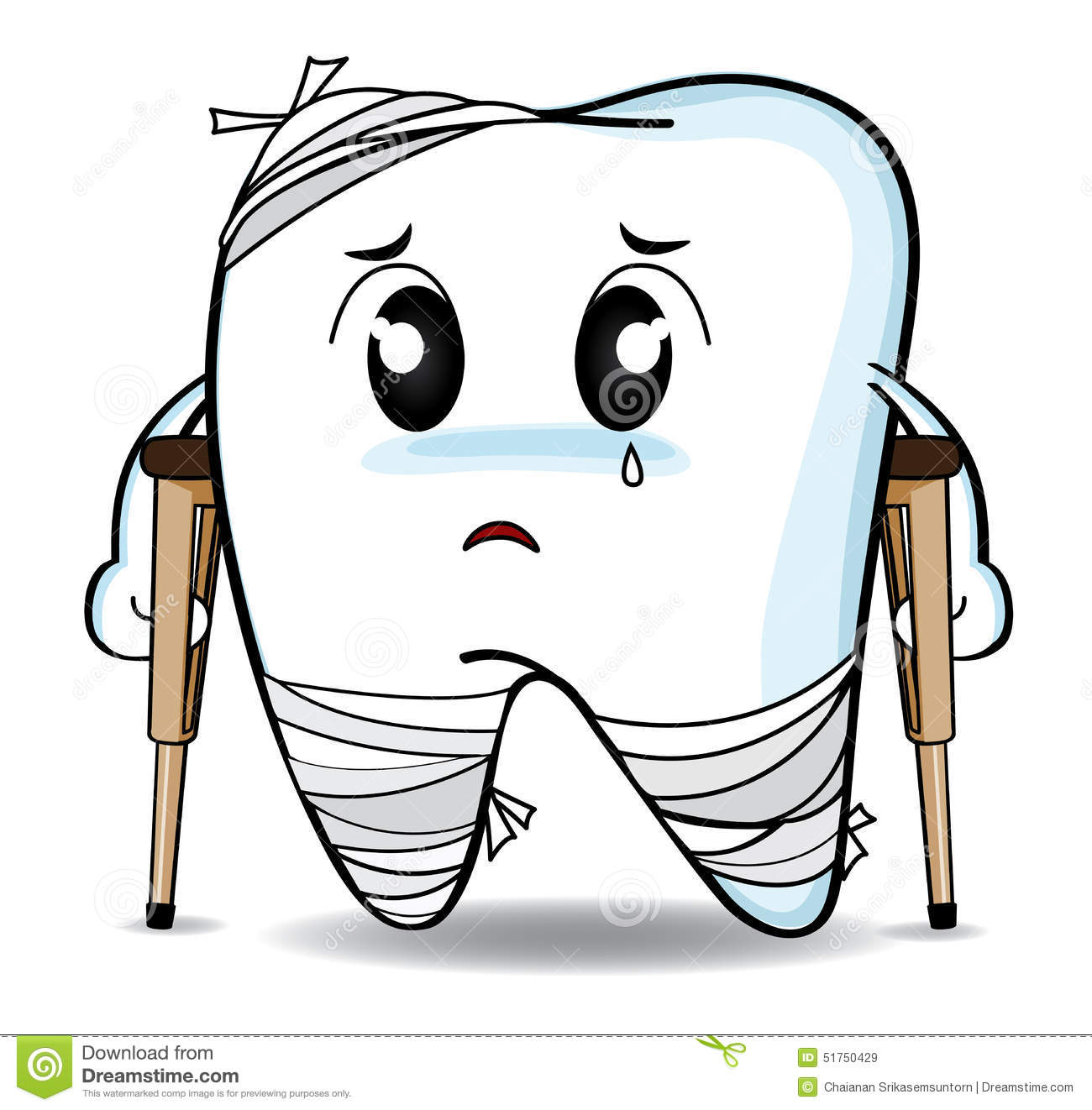 Cute Cartoon Decay Tooth Or Injury Stock Illustration - Image ...