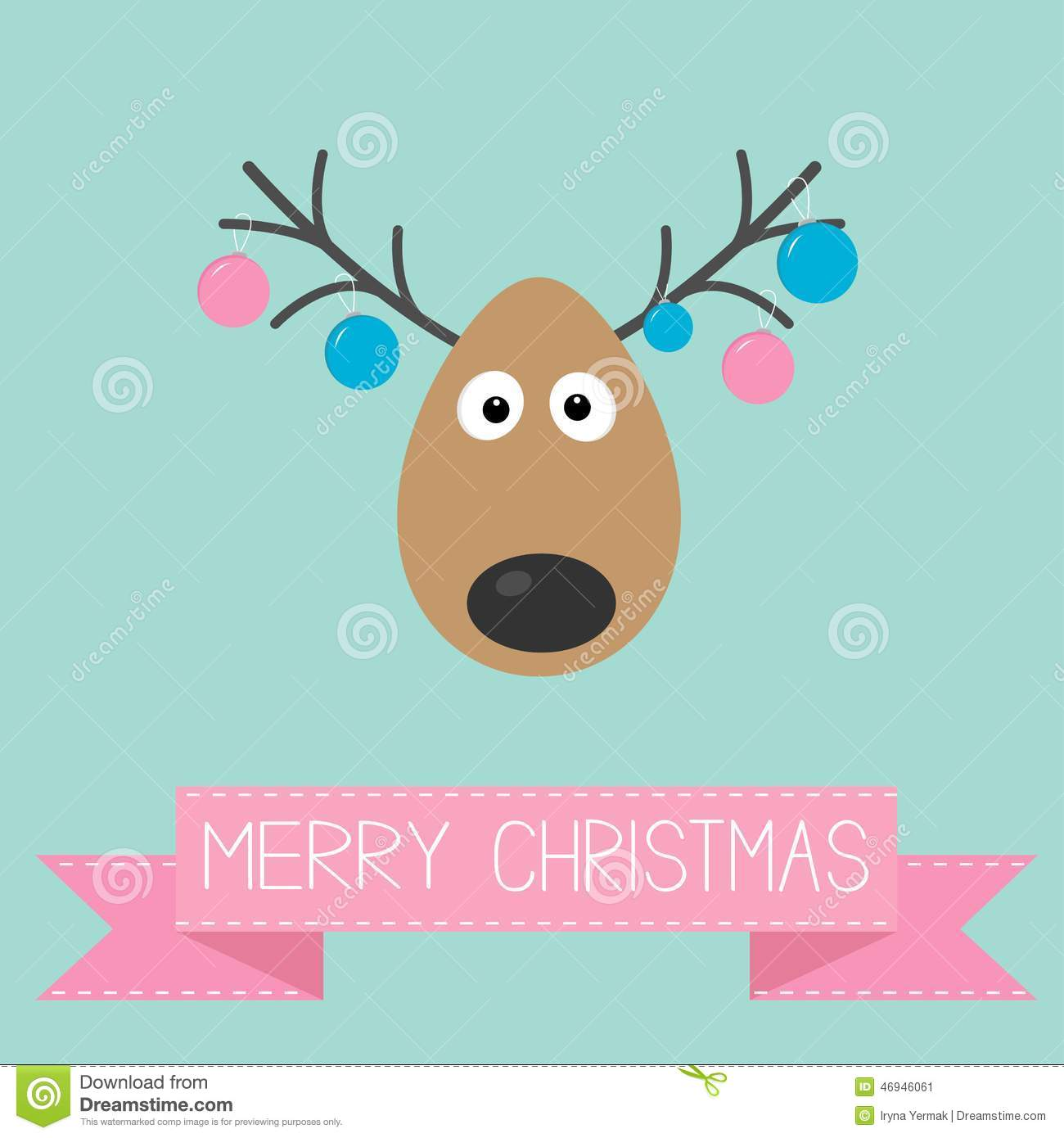 Cute Cartoon Deer With Hanging Christmas Ball Toys On Horns Merry