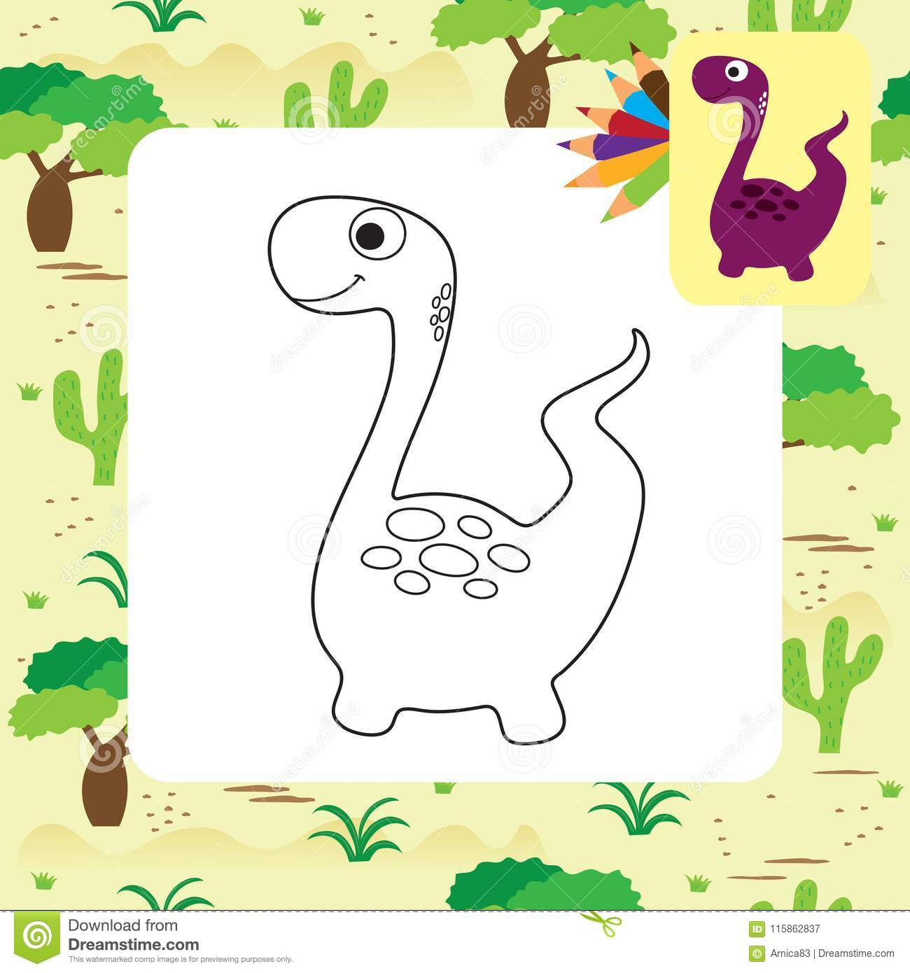 Cute Cartoon Dino Coloring Page Stock Vector Illustration Of