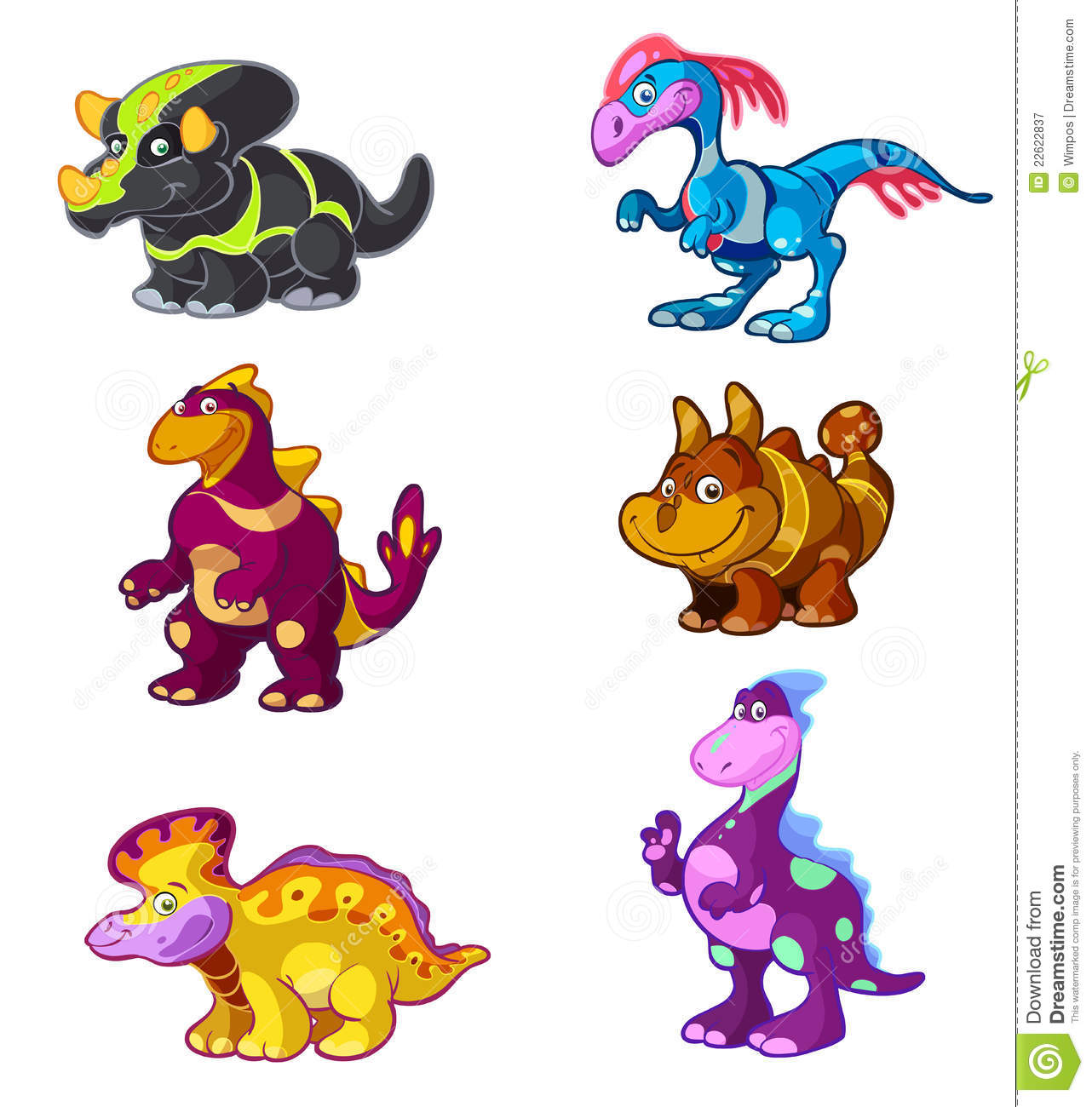 Cute Cartoon Dino Set Royalty Free Stock Photography - Image: 22622837