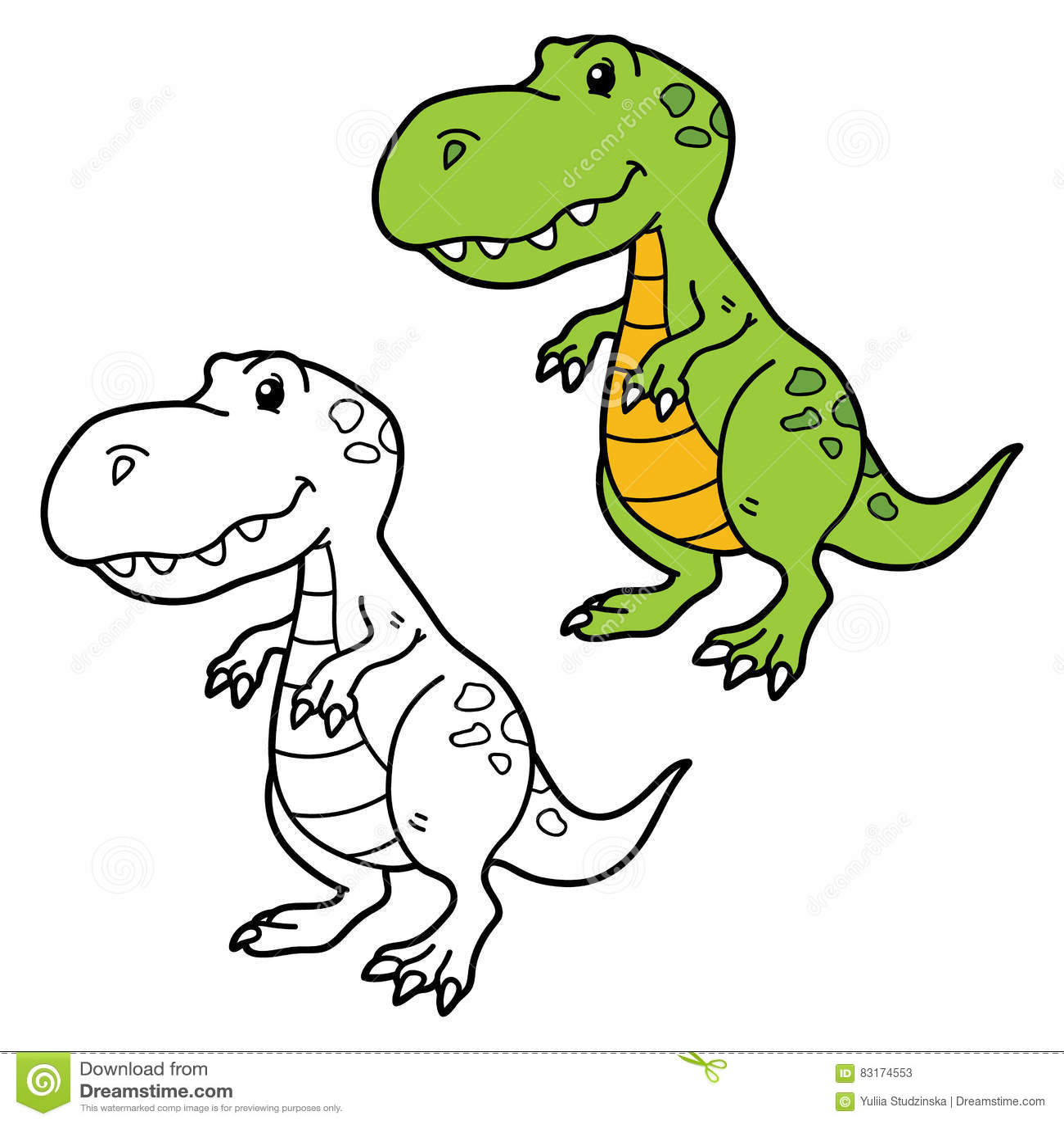 Cute Cartoon Dino Stock Vector Illustration Of Outline 83174553