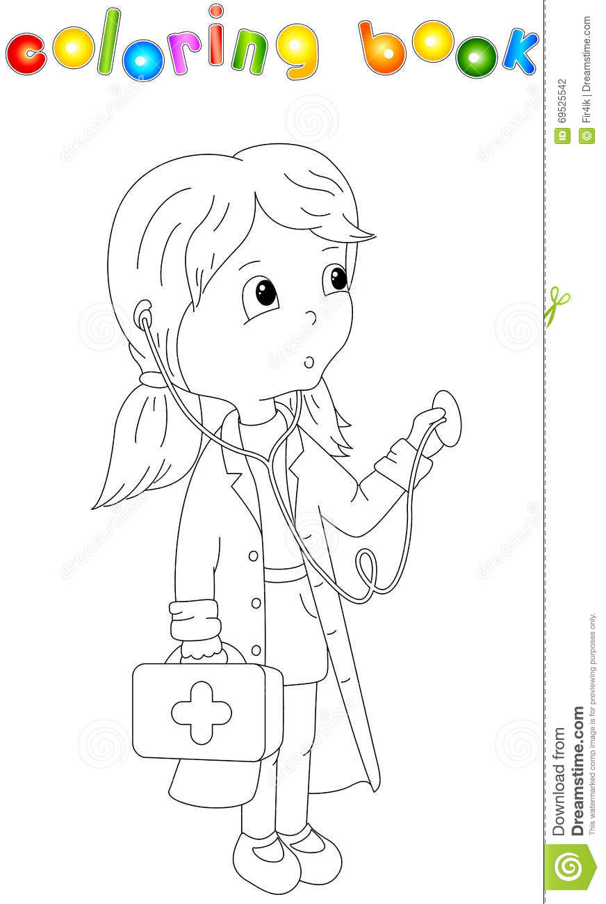 Cute cartoon doctor with a stethoscope stock vector for Stethoscope coloring page