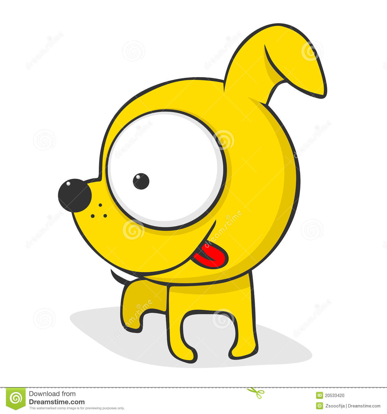 Simple Cute Dog Cartoon