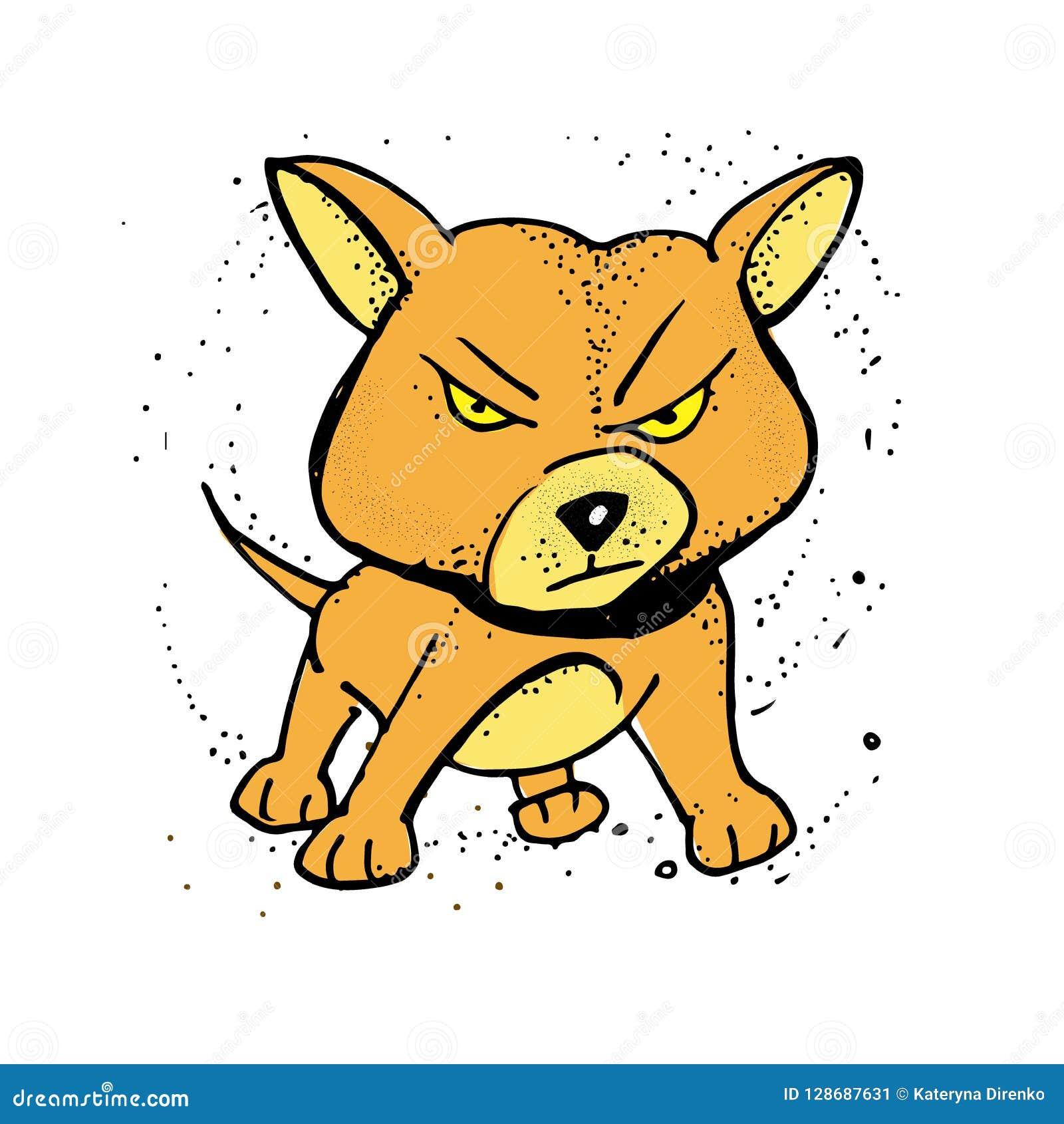 Cute Cartoon Dog Angry Dog Vector Illustration Poster T Shirt