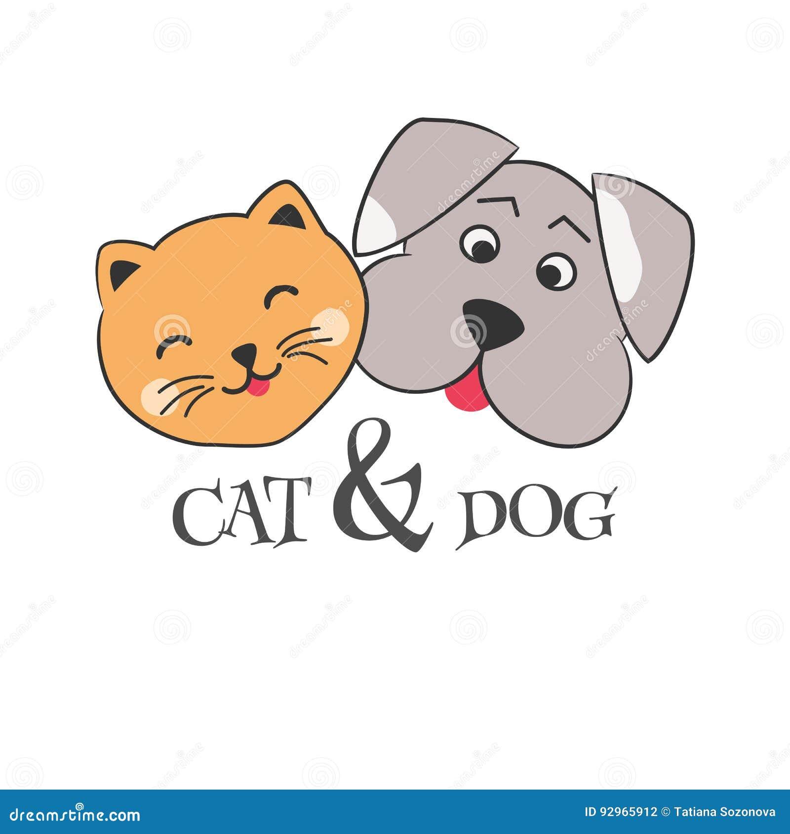 Cute Cartoon Dog And Cat Stock Vector Illustration Of Illustration 92965912