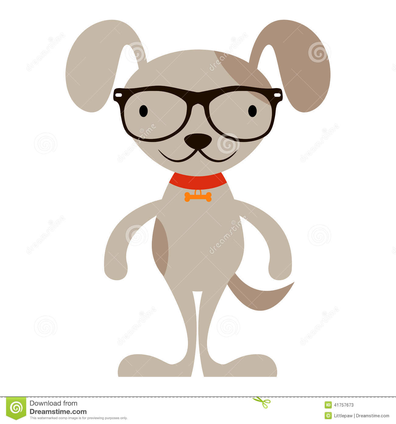 cartoon dog with glasses