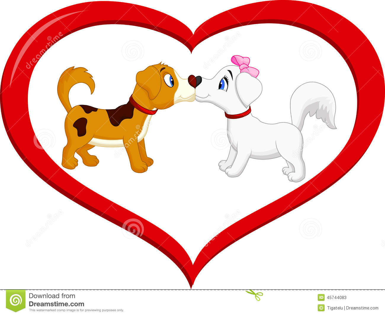 Cartoon Characters Kissing Each Other : Cute cartoon dog kissing each other stock vector image