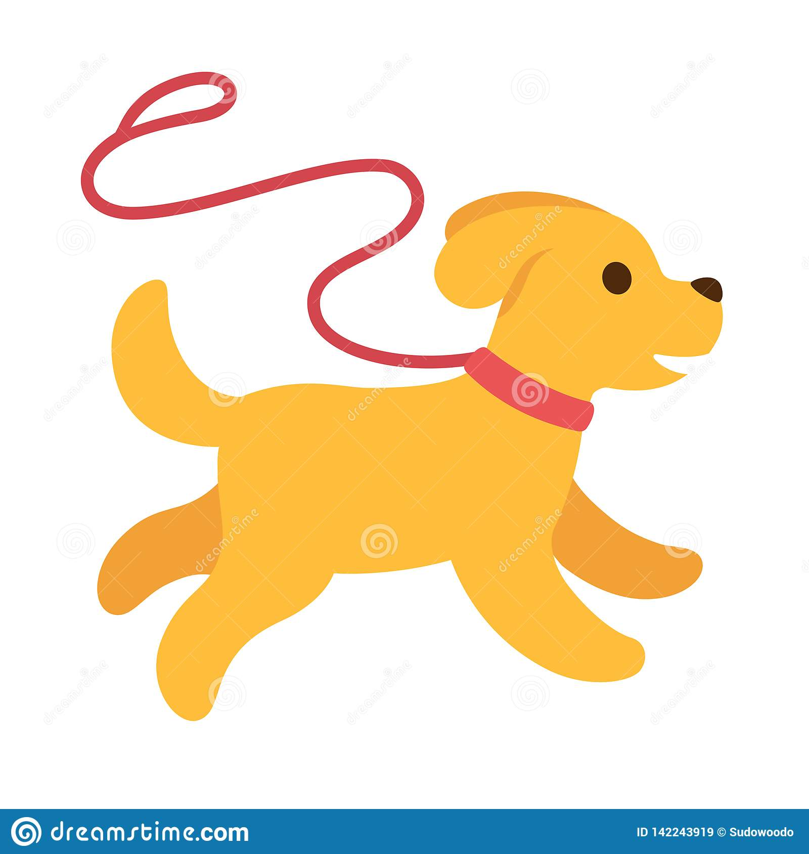 Cute Cartoon Dog Running With Leash Stock Vector Illustration Of