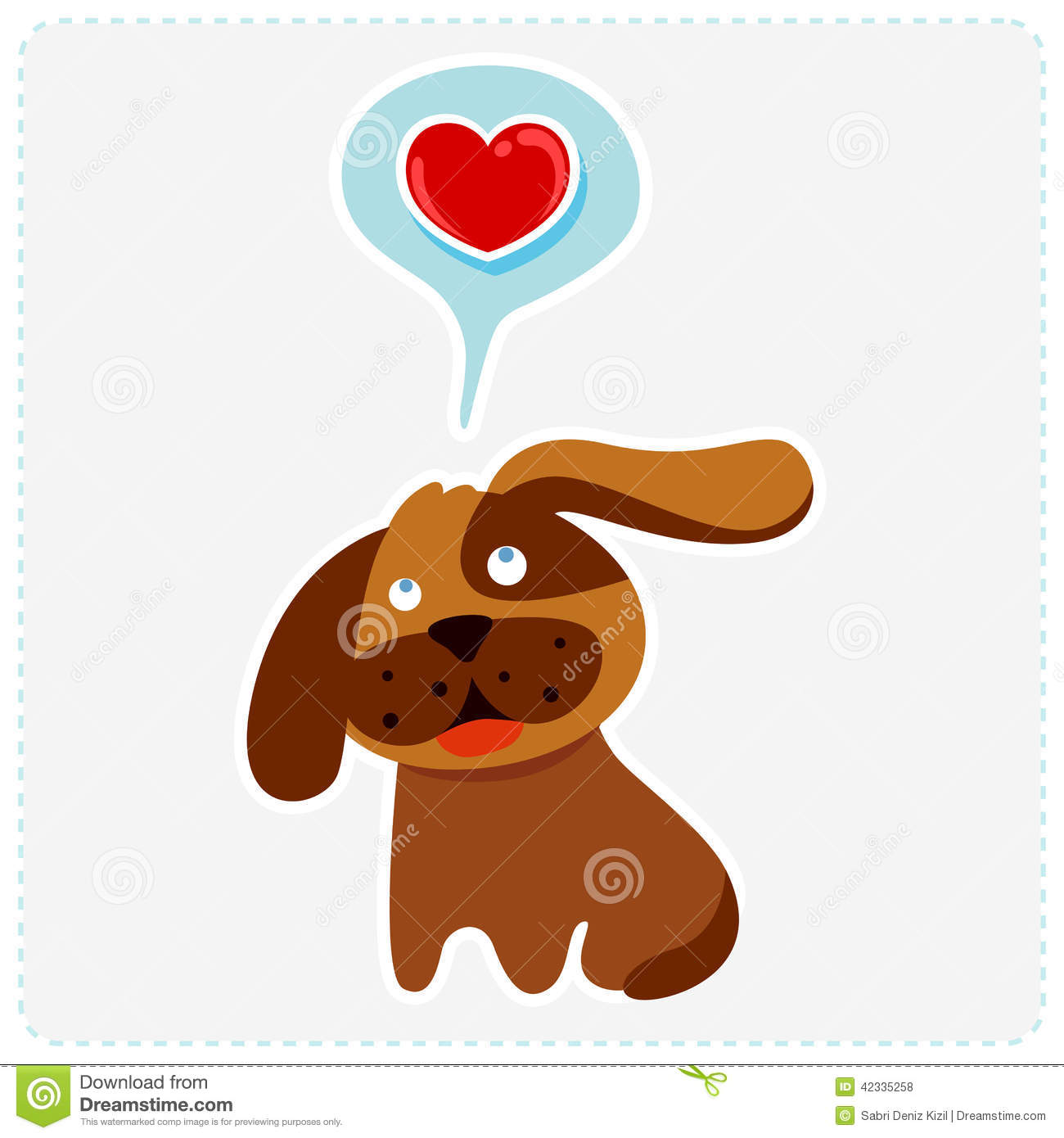 Cute Cartoon Dog Is Thinking To Love Vector Illustration Stock