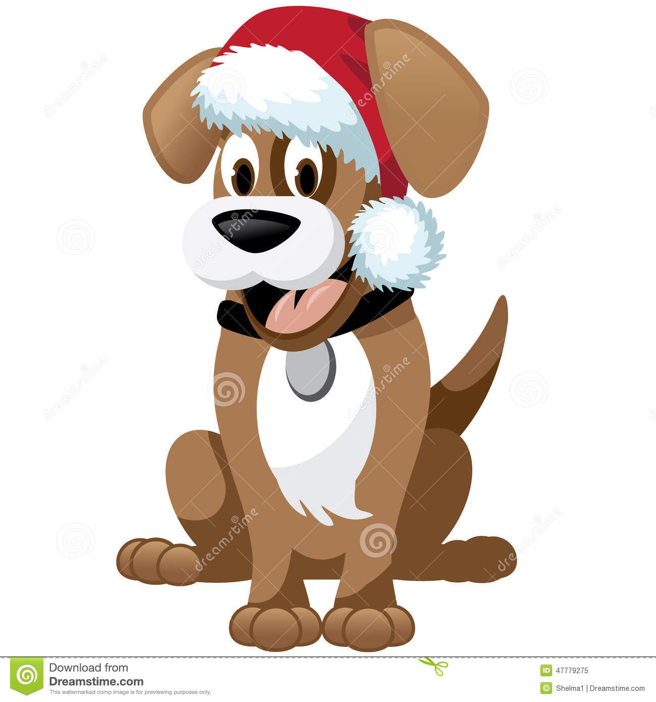 Cute cartoon dog wearing santa hat stock vector image