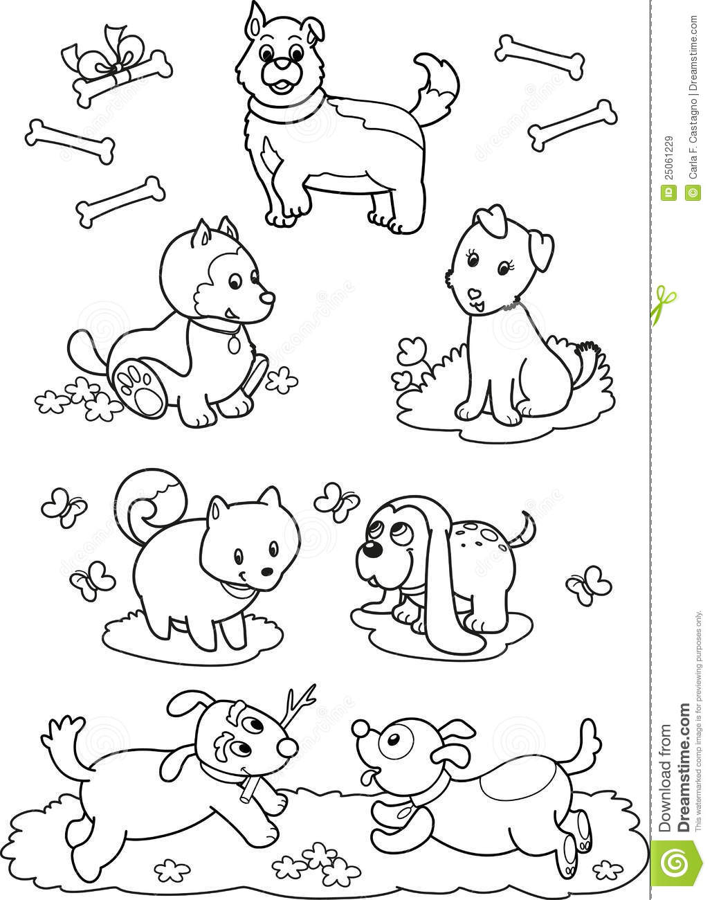 animal coloring pages for kids dogs jokes | Cute Cartoon Dogs: Coloring Page Stock Vector ...