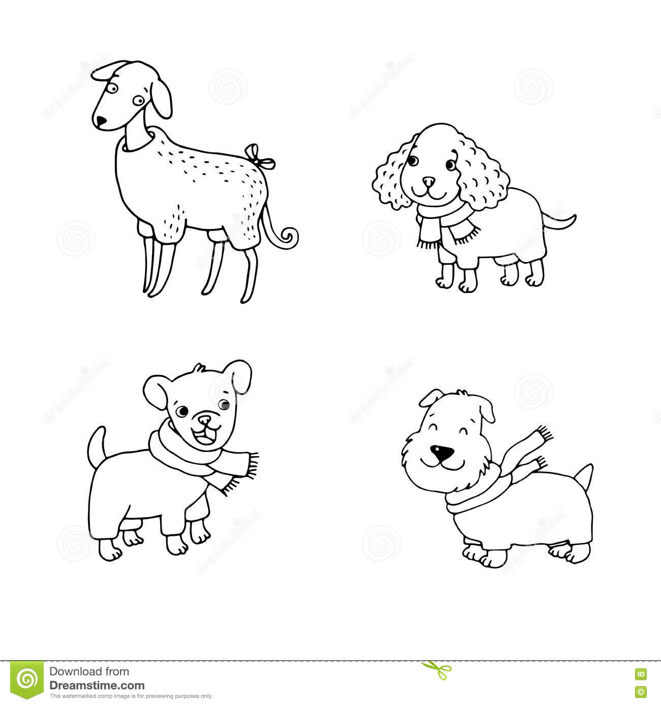 Cute Cartoon Dogs In Winter Clothes Stock Vector Illustration Of