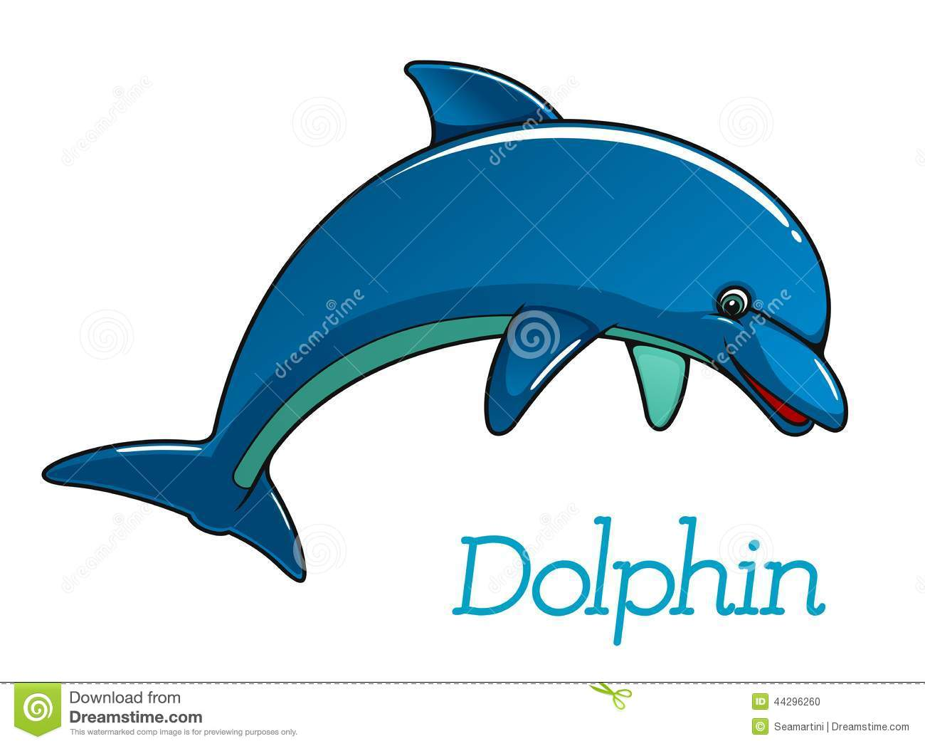 Cute cartoon dolphin jumping in sea water for kids illustration and ...