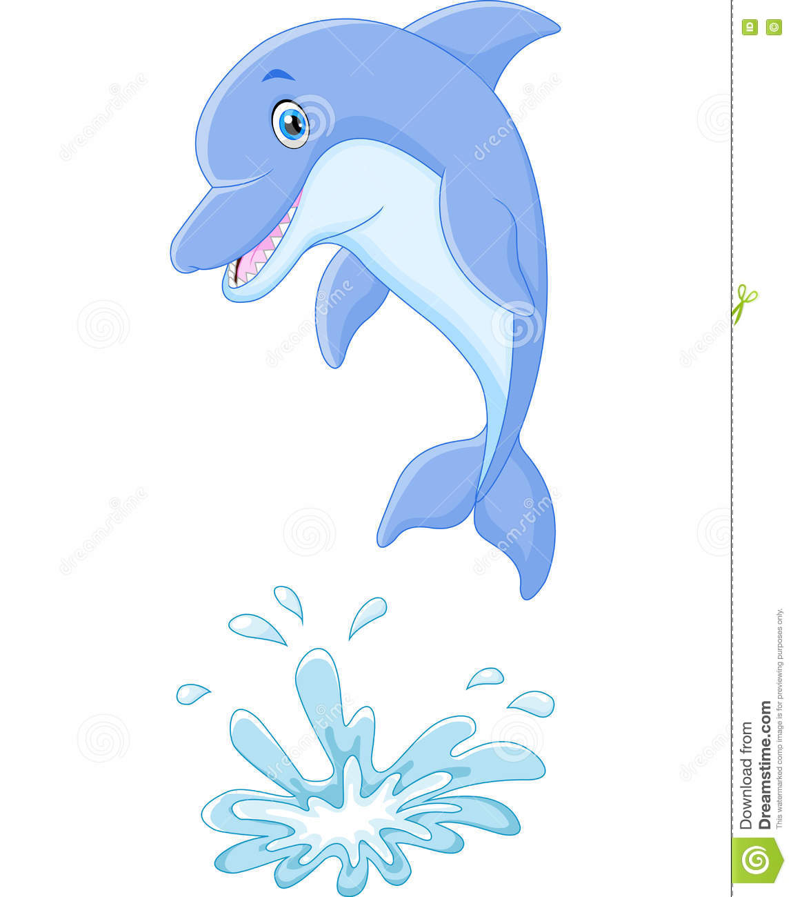 cute cartoon dolphin jumping out of water stock vector