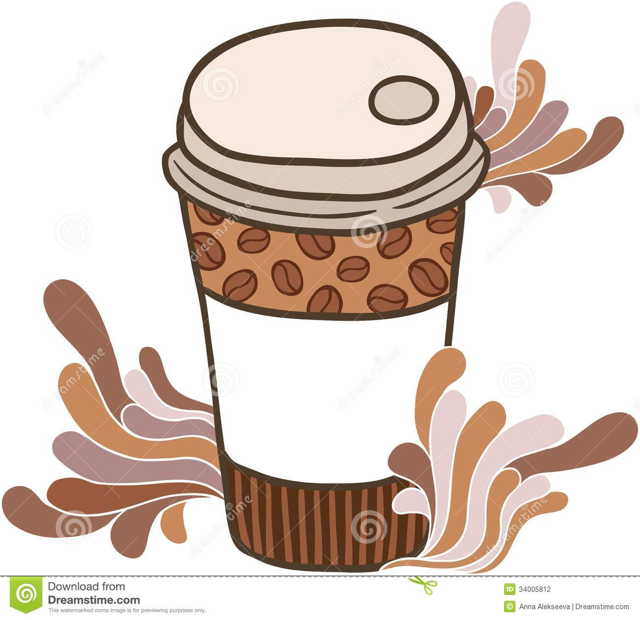 Cute Cartoon Doodle Coffee Cup Stock Photography Image