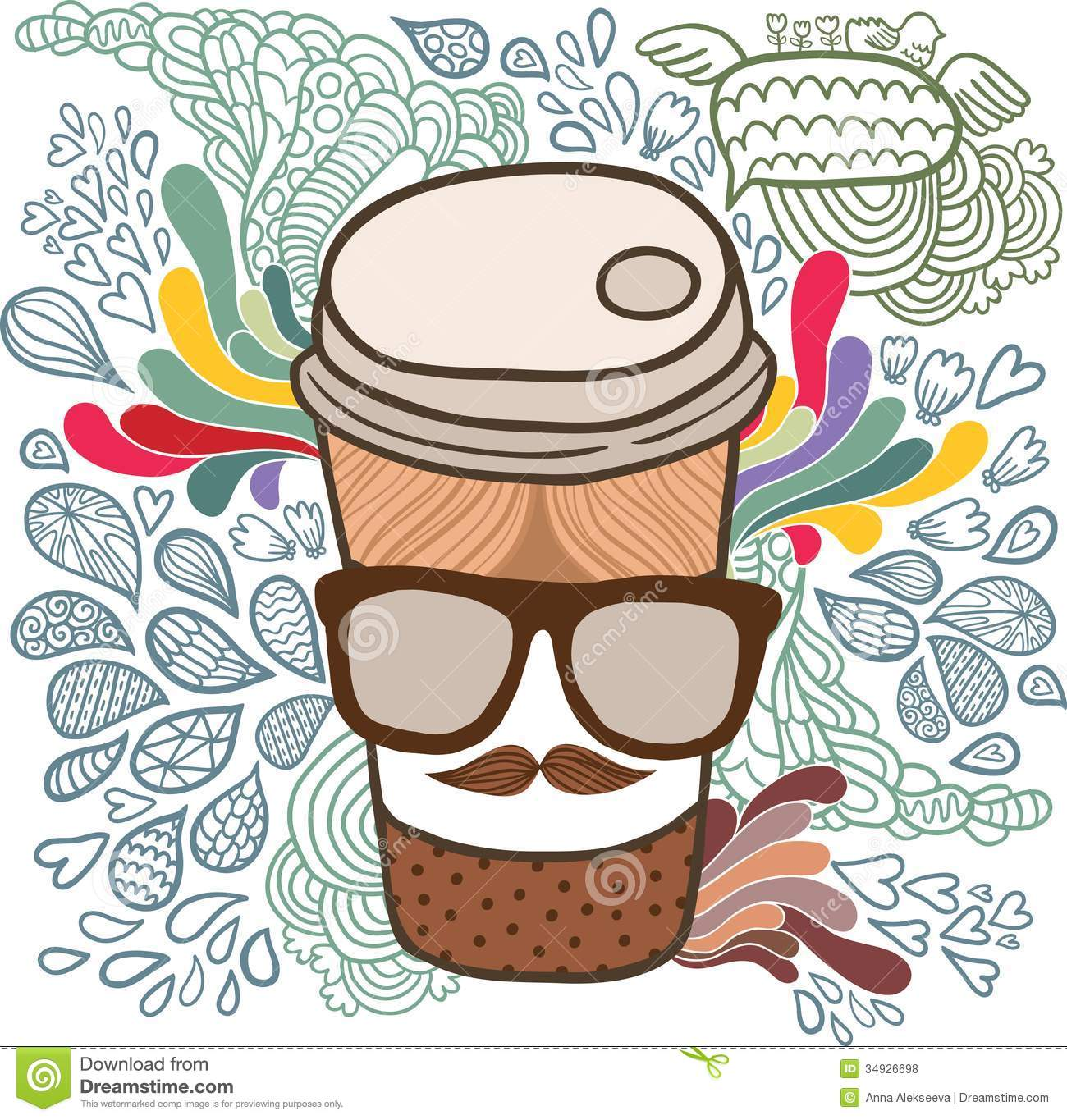Cute Cartoon Doodle Coffee Cup. Stock Vector - Image: 34926698