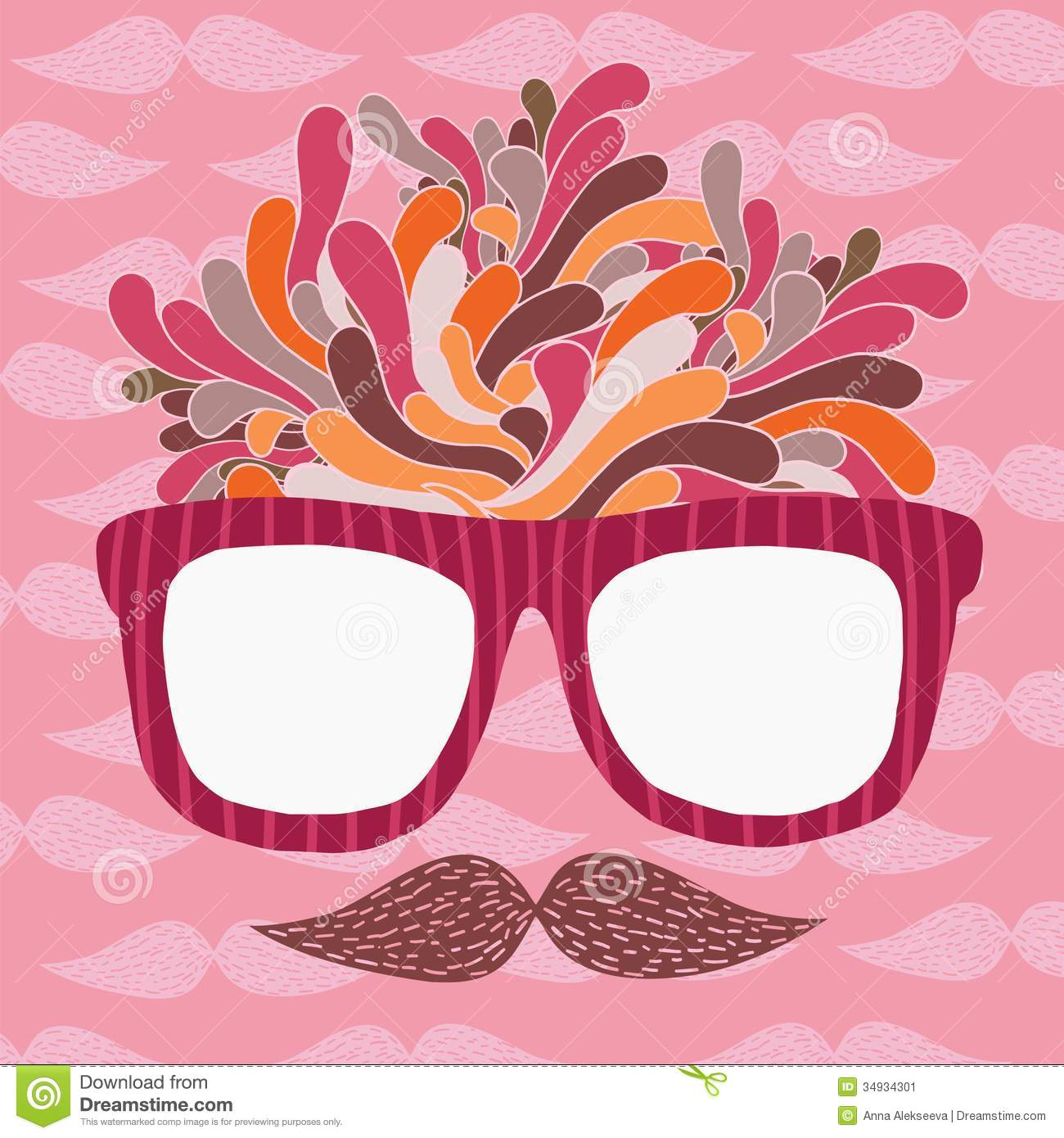 Cute Cartoon Doodle Hipster Glasses And Mustache Stock ...