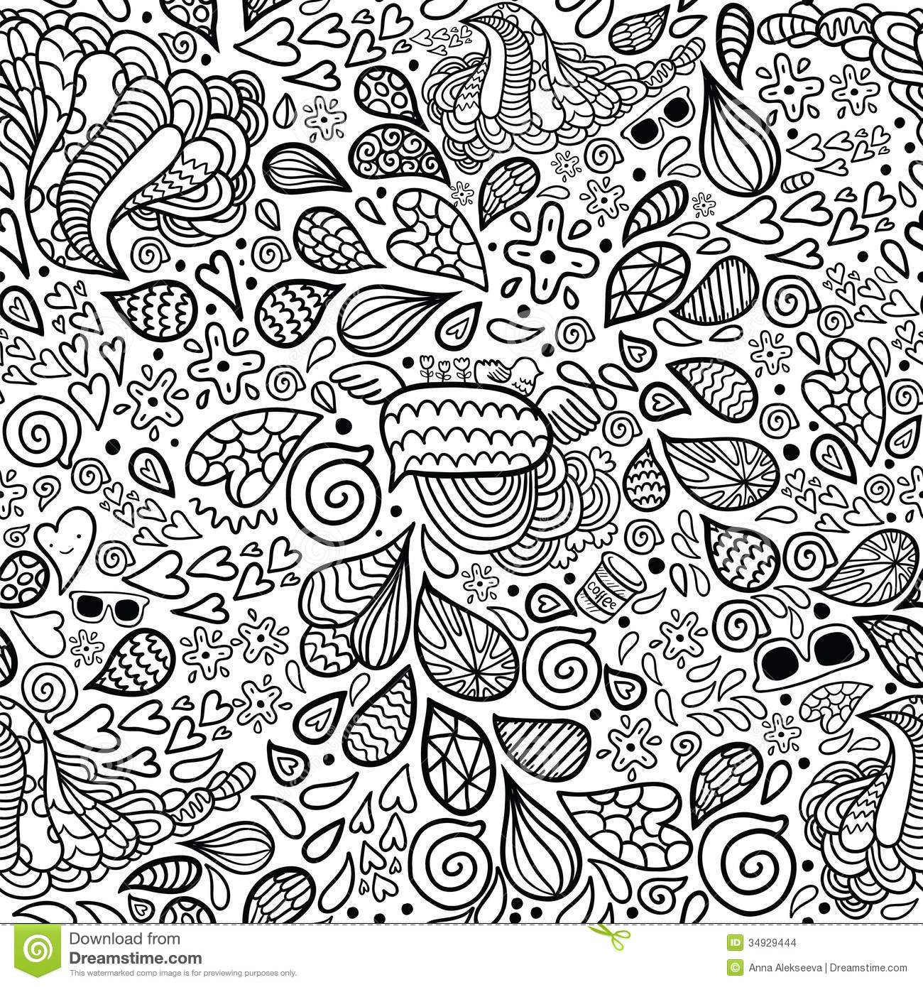 Cute cartoon doodle hipster seamless pattern stock vector for Background coloring pages