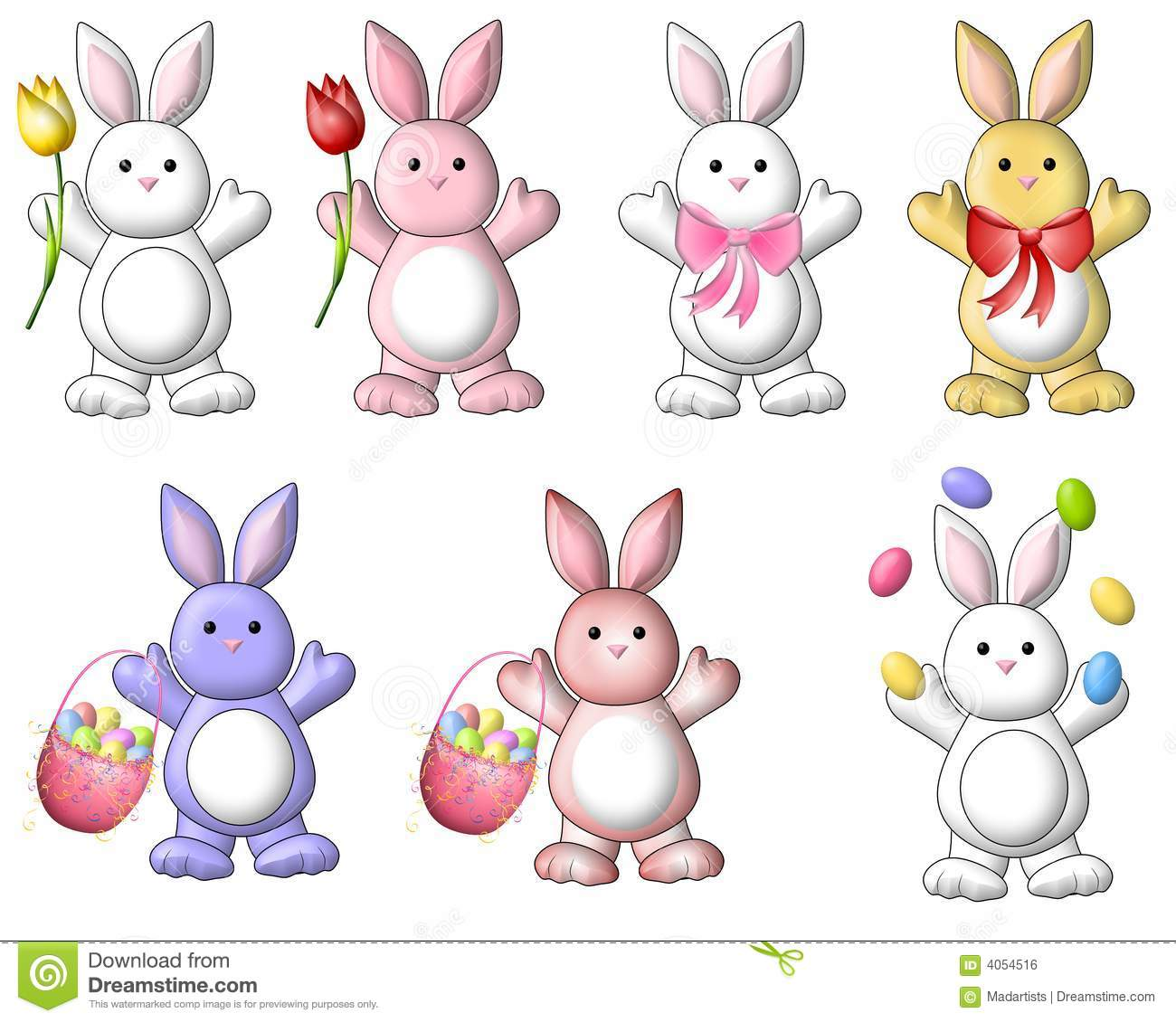 Cute Cartoon Easter Bunnies Clip Art Stock Illustration ... for Easter Animals Clipart  285eri