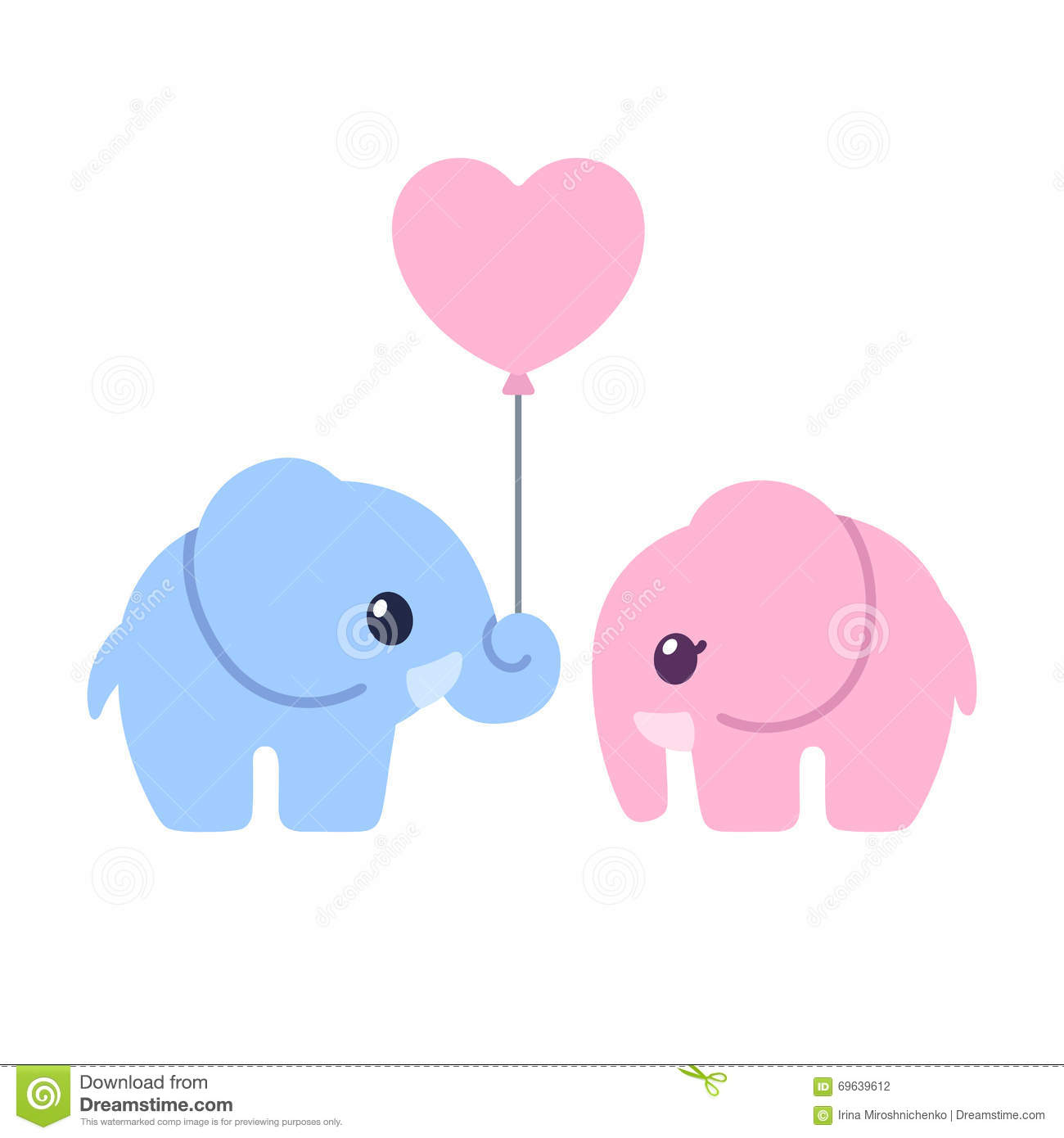 Cute Cartoon Elephant Couple Illustration 69639612 Megapixl