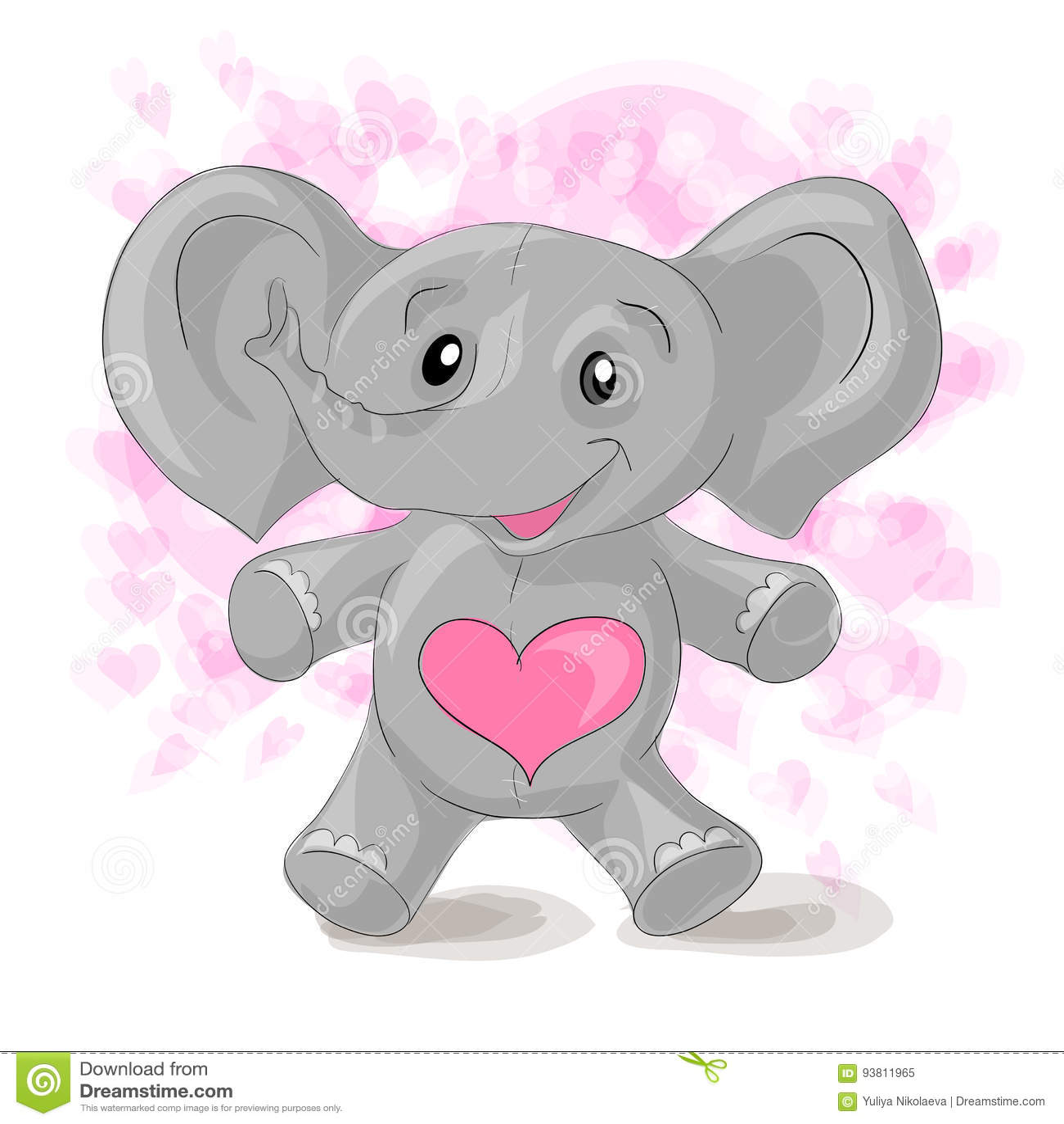 Cute cartoon elephant with hearts.
