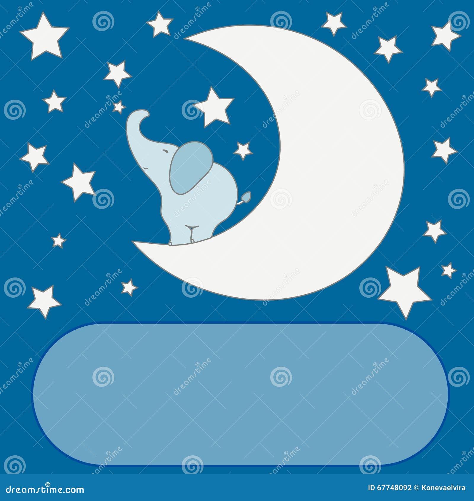 Cute Cartoon Elephant On The Moon In The Night Sky, Stars ...
